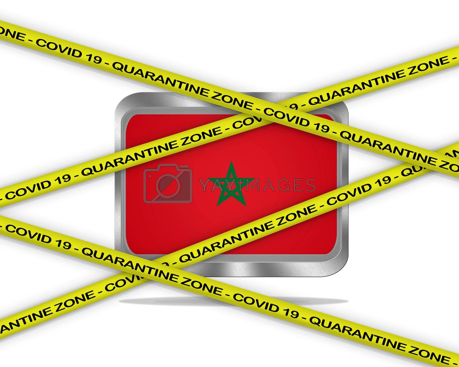 COVID-19 warning yellow ribbon written with: Quarantine zone Cover 19 on Morocco flag illustration. Coronavirus danger area, quarantined country.
