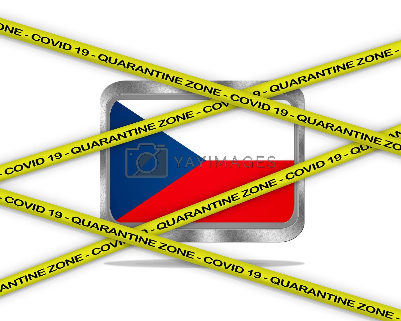 COVID-19 warning yellow ribbon written with: Quarantine zone Cover 19 on  Republic Czech flag illustration. Coronavirus danger area, quarantined country.