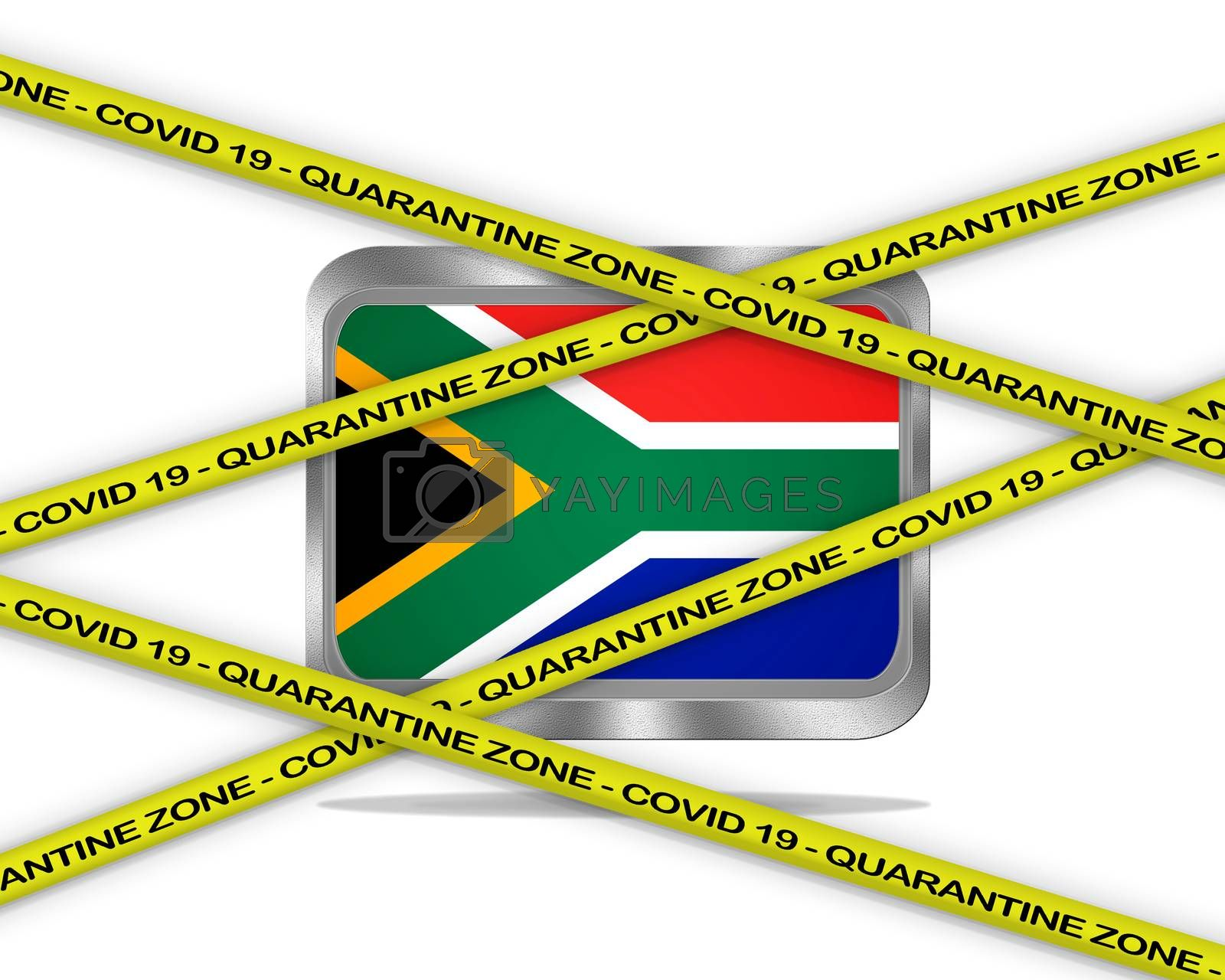 COVID-19 warning yellow ribbon written with: Quarantine zone Cover 19 on South Africa flag illustration. Coronavirus danger area, quarantined country.