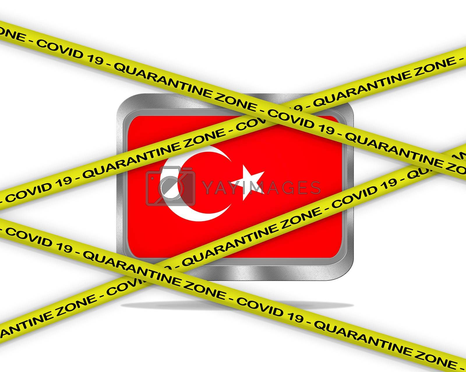 COVID-19 warning yellow ribbon written with: Quarantine zone Cover 19 on Turkey flag illustration. Coronavirus danger area, quarantined country.