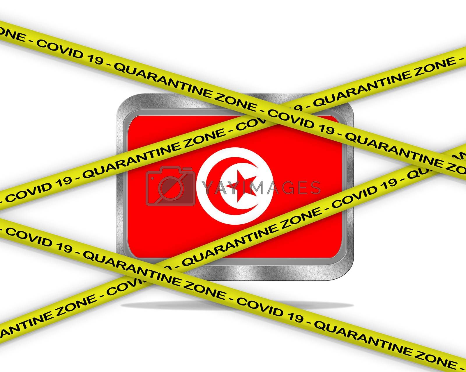 COVID-19 warning yellow ribbon written with: Quarantine zone Cover 19 on Tunisia flag illustration. Coronavirus danger area, quarantined country.