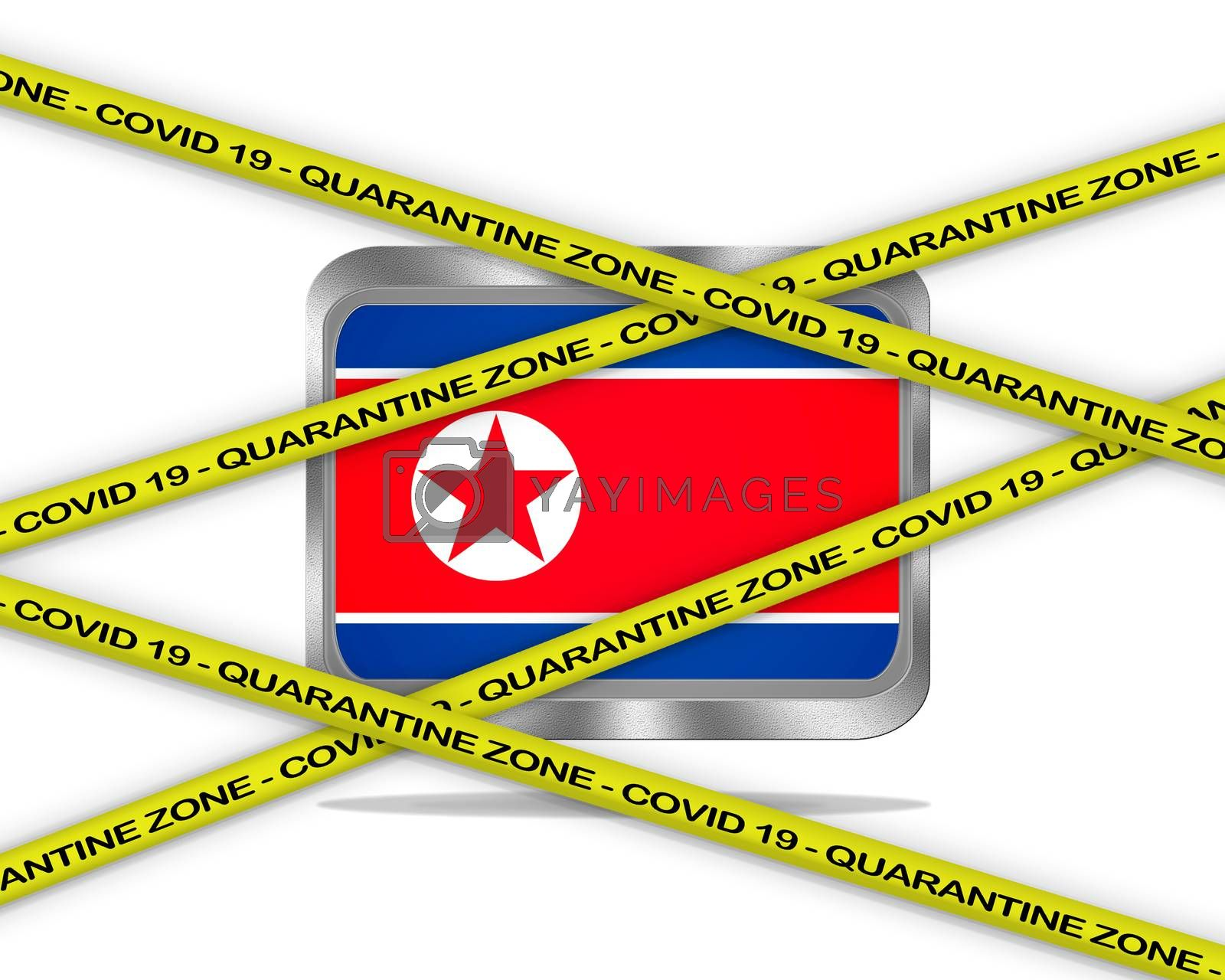 COVID-19 warning yellow ribbon written with: Quarantine zone Cover 19 on North Korea flag illustration. Coronavirus danger area, quarantined country.