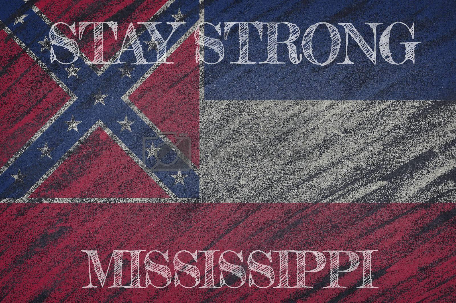 COVID-19 warning. Quarantine zone Covid 19 on Mississippi ,flag illustration. Coronavirus danger area, quarantined country. Stay strong.