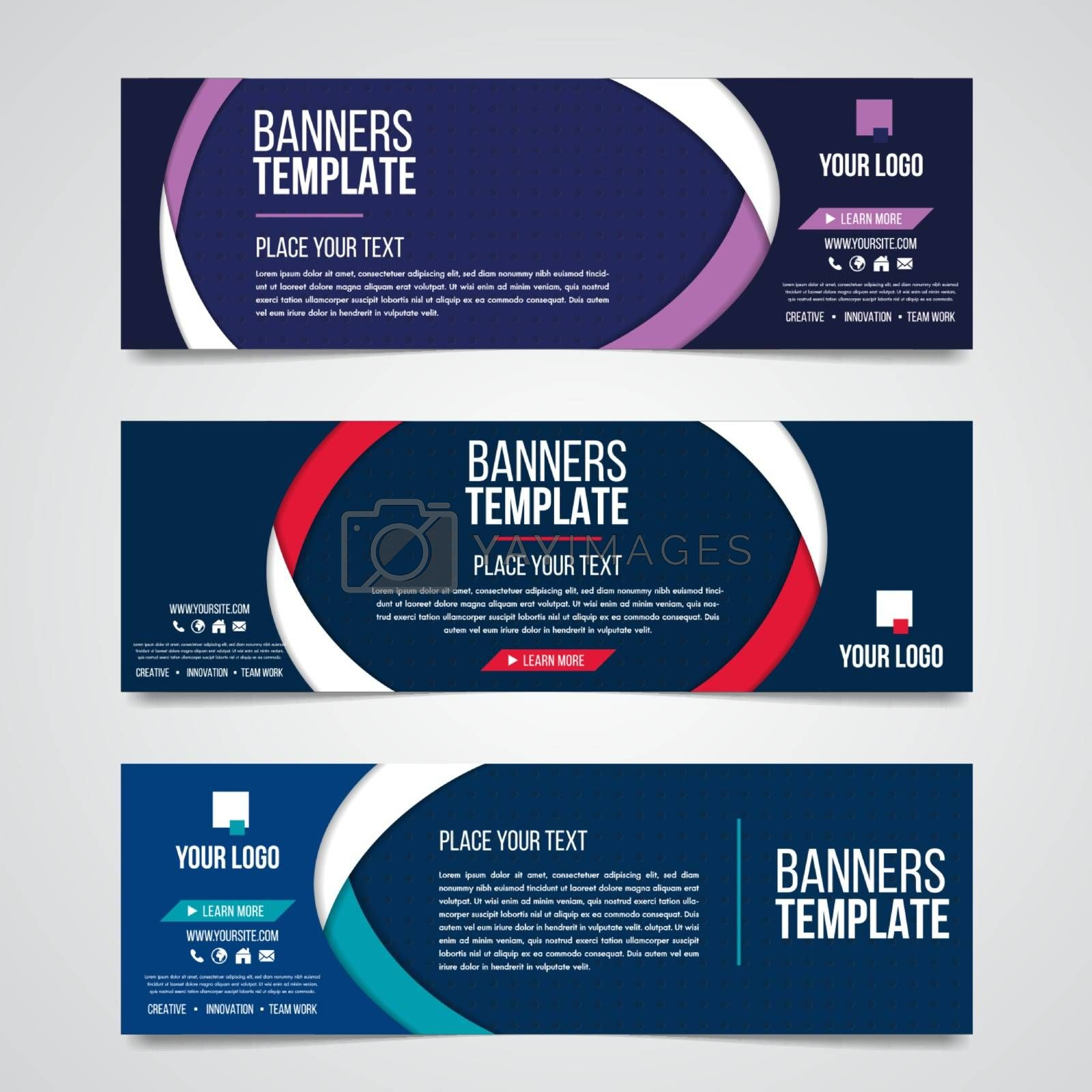 Abstract horizontal business banner geometric shapes design web set template background or header Templates place for text.