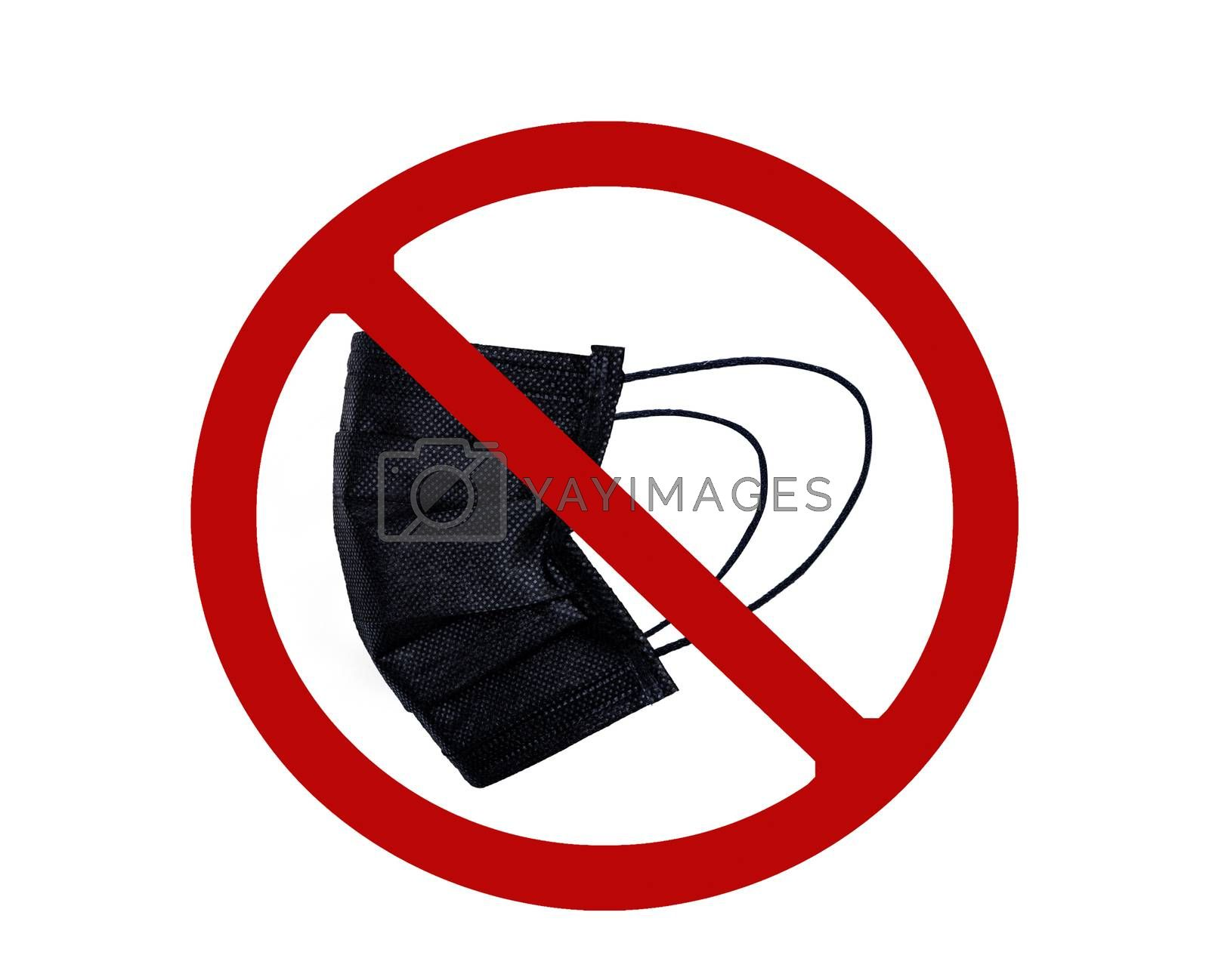 Used black surgical face mask in red forbidden symbol on white background. No discard used medical face mask in this area. Medical waste management with hygienic rule in hospital and community.