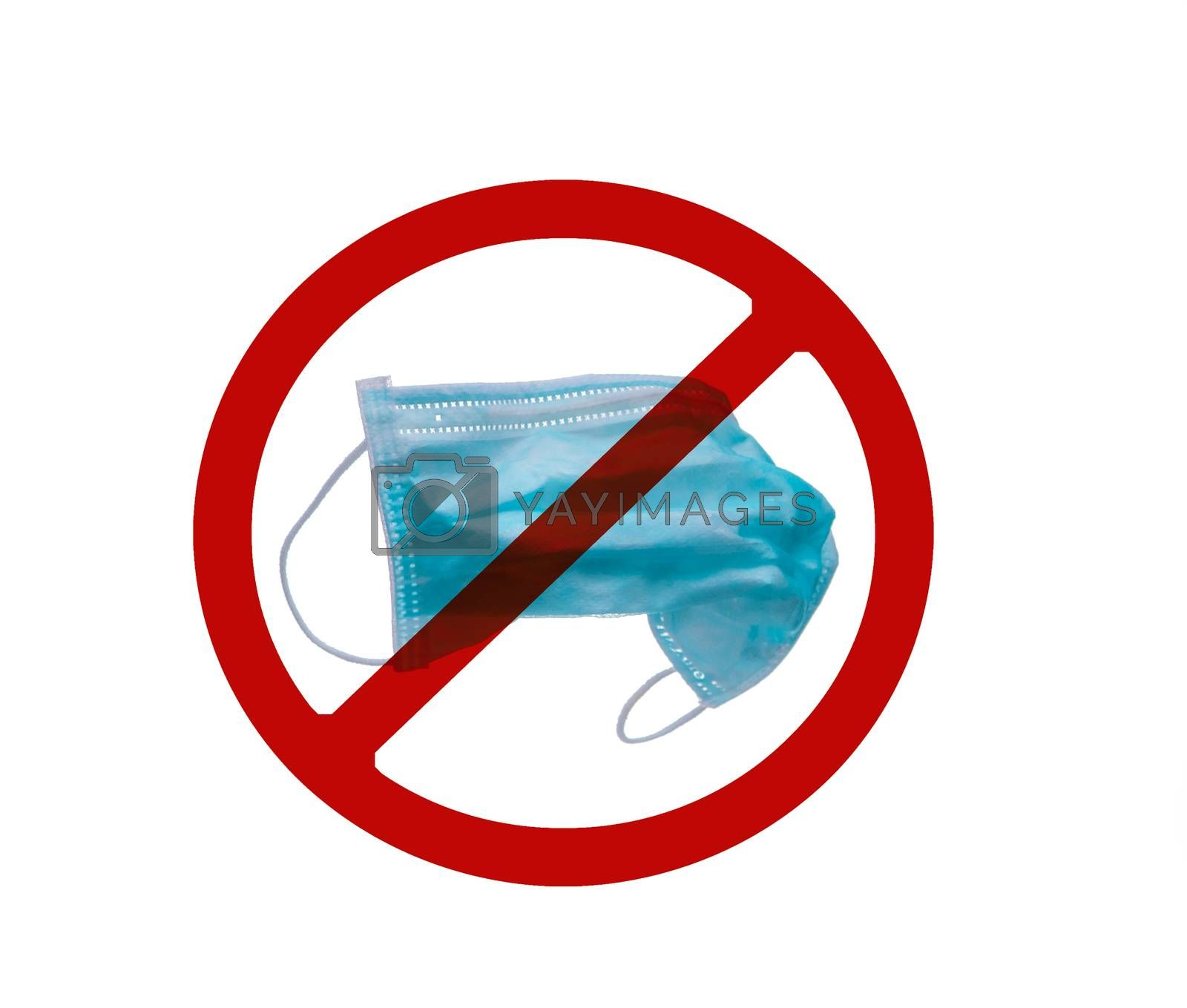 Used blue surgical face mask in red forbidden symbol on white background. No discard used medical face mask in this area. Medical waste management with hygienic rule in hospital and community.