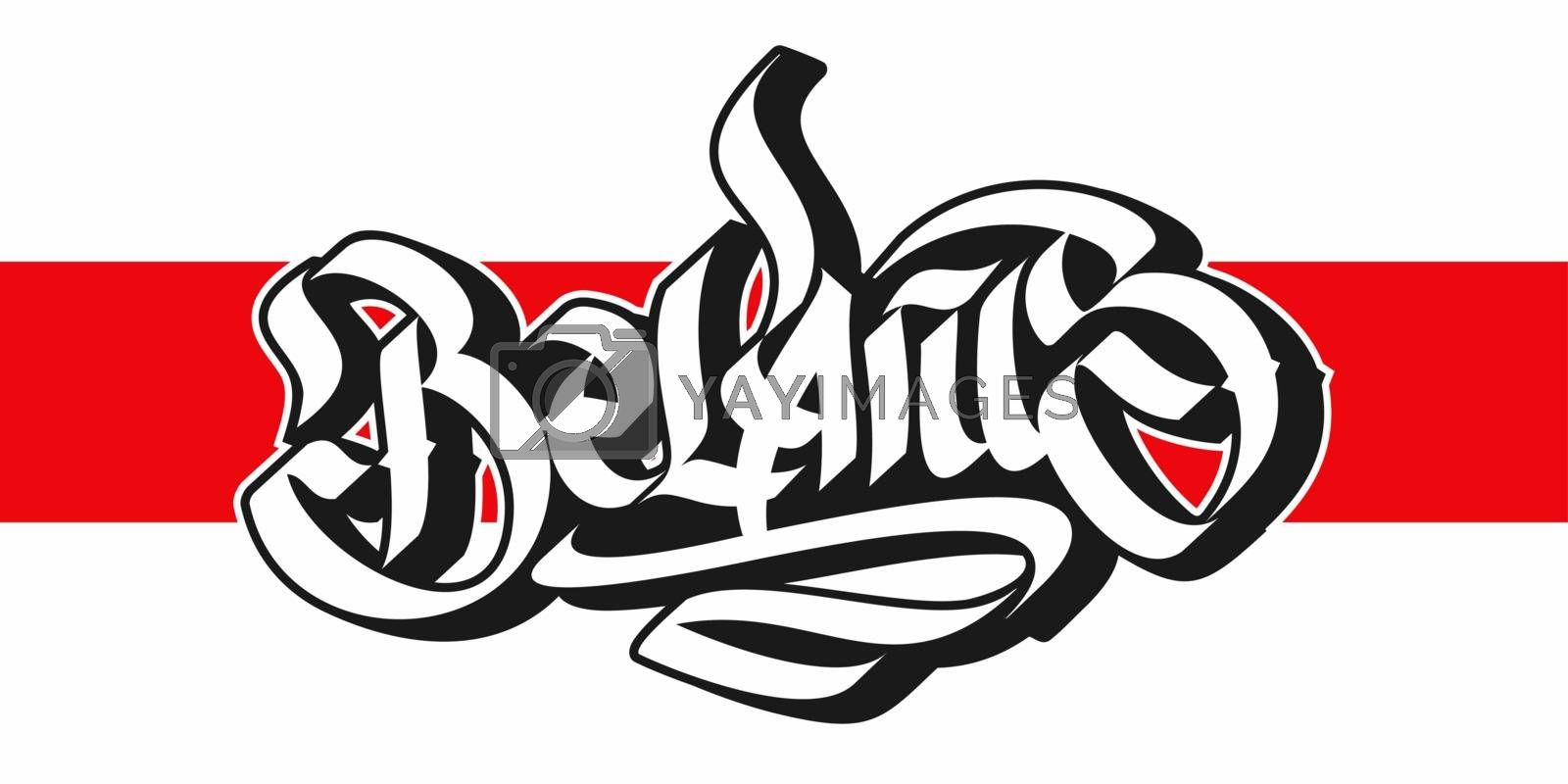 Abstract Word Belarus Graffiti Font Lettering With Belarus National Flag On The Background
