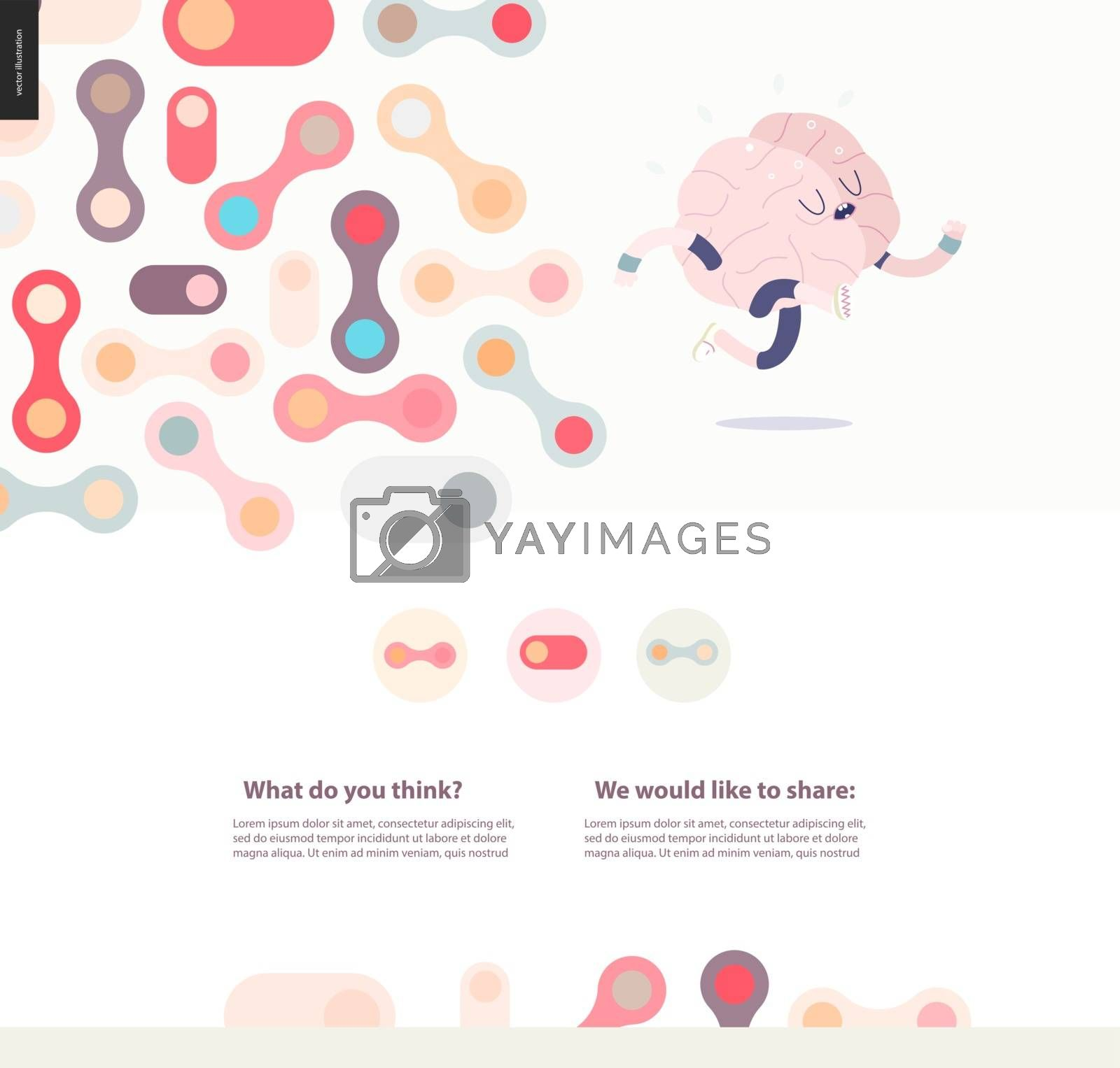 Running brain template design web mockup vector banner - rounded pastel colored shapes isolated on cream background accompanied with a title and text block template, and running brain