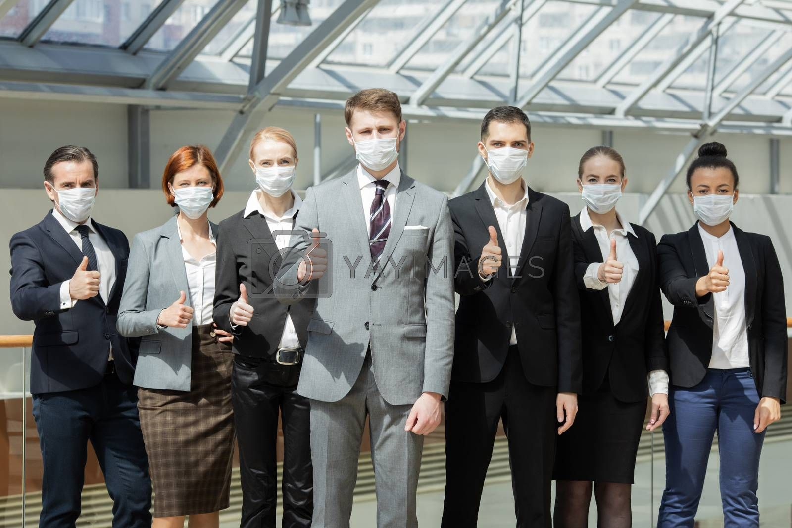 Successful business people wearing masks by ALotOfPeople