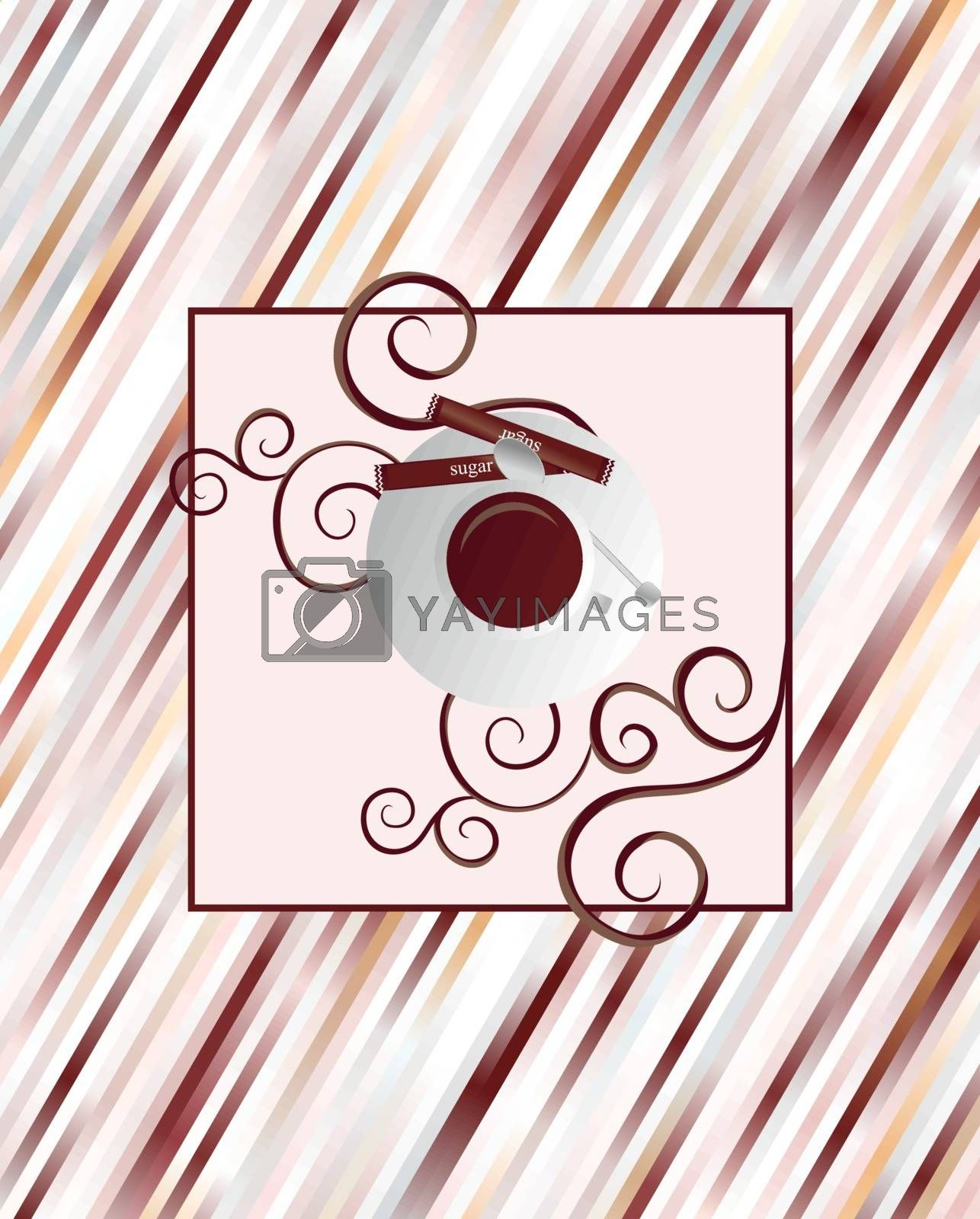 vector coffee cup brown frame with stripes background