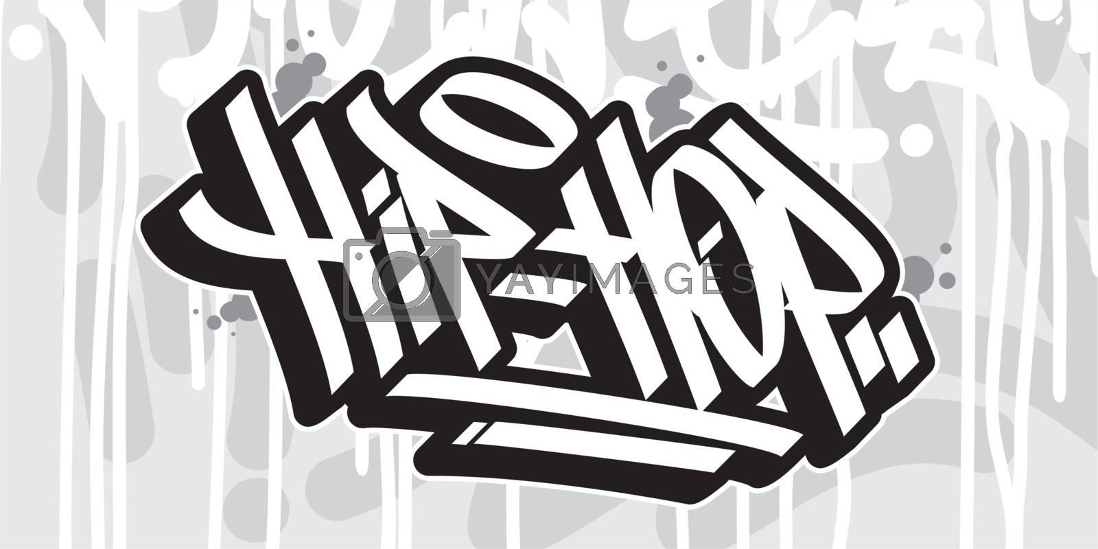 Word Hip Hop Graffiti Style Typography