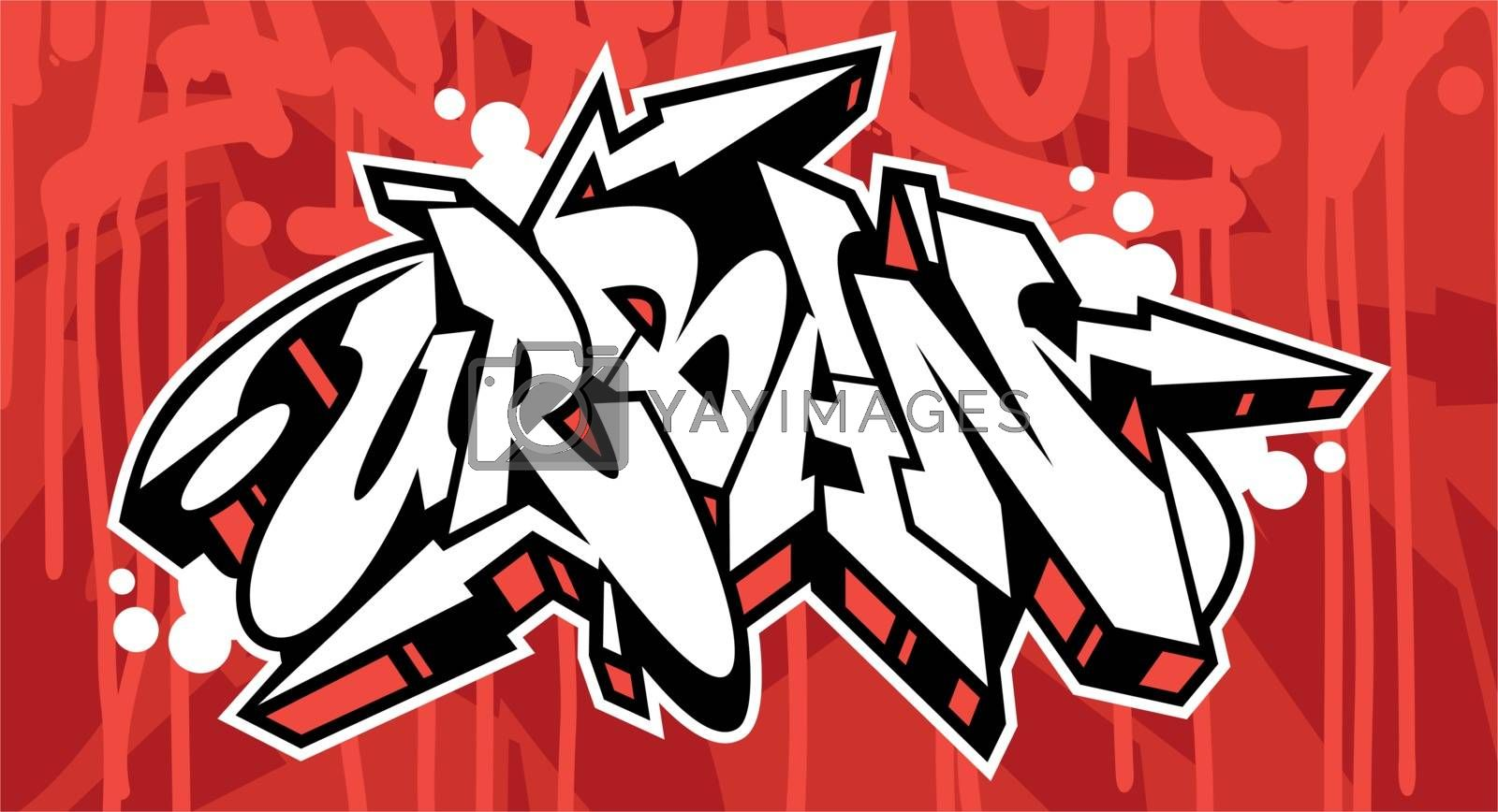 Urban Graffiti Font Lettering With A Red Background
