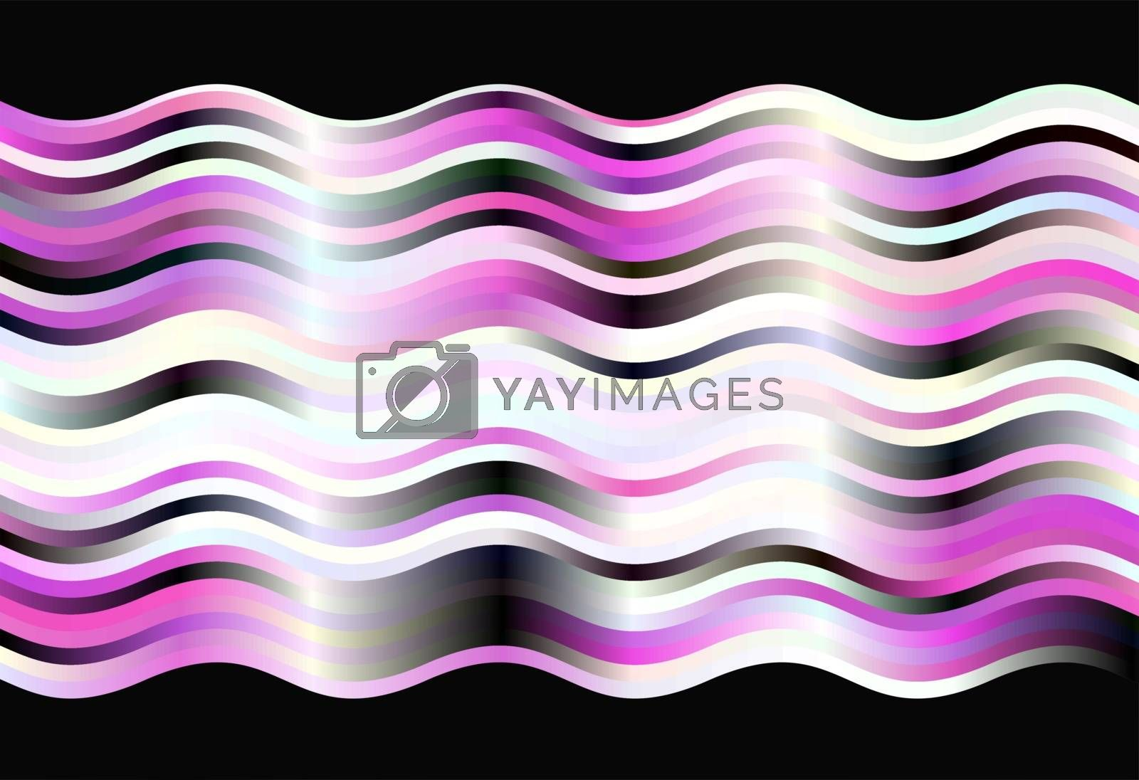 Magenta, black and white striped waves background with  black waved sides