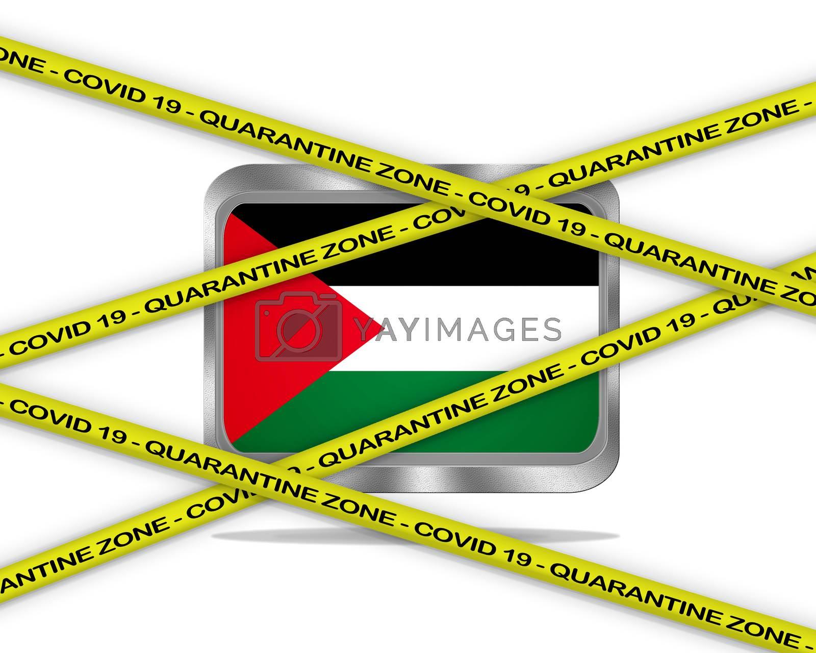COVID-19 warning yellow ribbon written with: Quarantine zone Cover 19 on Palestine flag illustration. Coronavirus danger area, quarantined country.