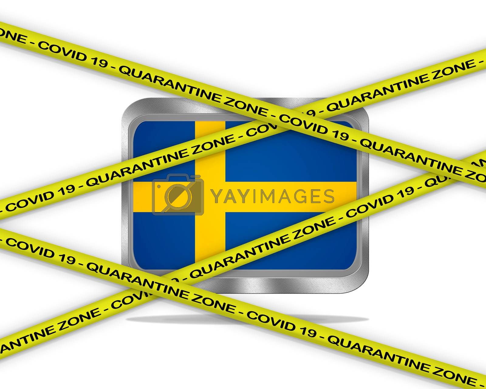 COVID-19 warning yellow ribbon written with: Quarantine zone Cover 19 on Sweden flag illustration. Coronavirus danger area, quarantined country.