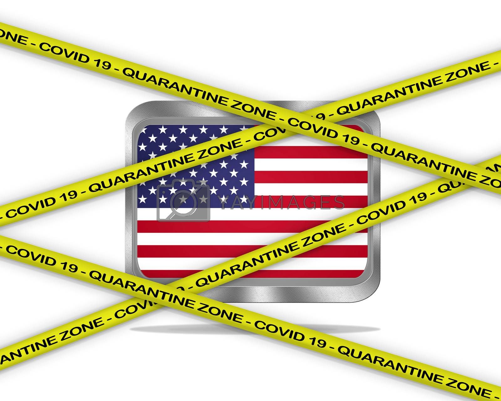 COVID-19 warning yellow ribbon written with: Quarantine zone Cover 19 on Usa flag illustration. Coronavirus danger area, quarantined country.