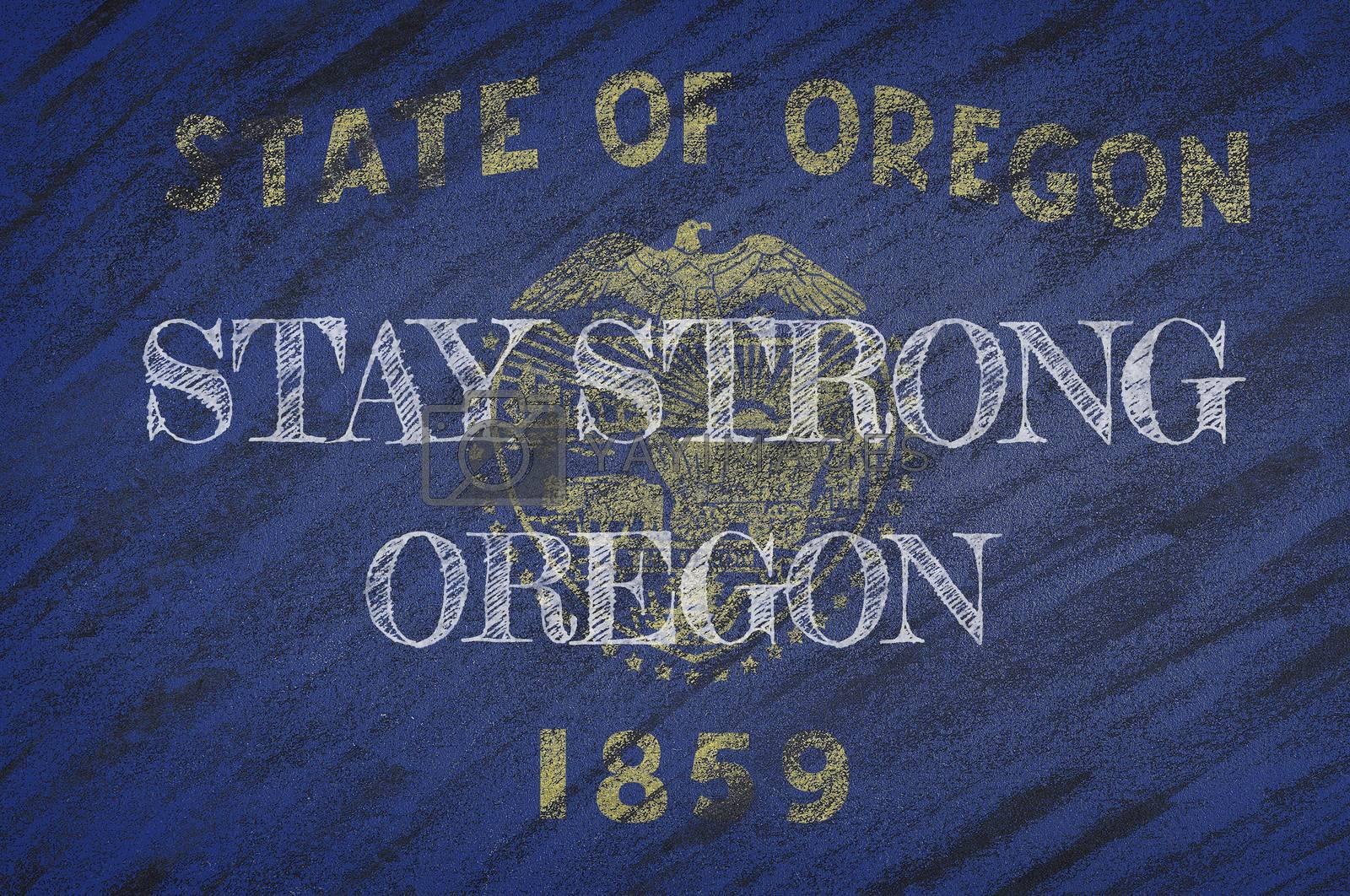 COVID-19 warning. Quarantine zone Covid 19 on Oregon ,flag illustration. Coronavirus danger area, quarantined country. Stay strong.
