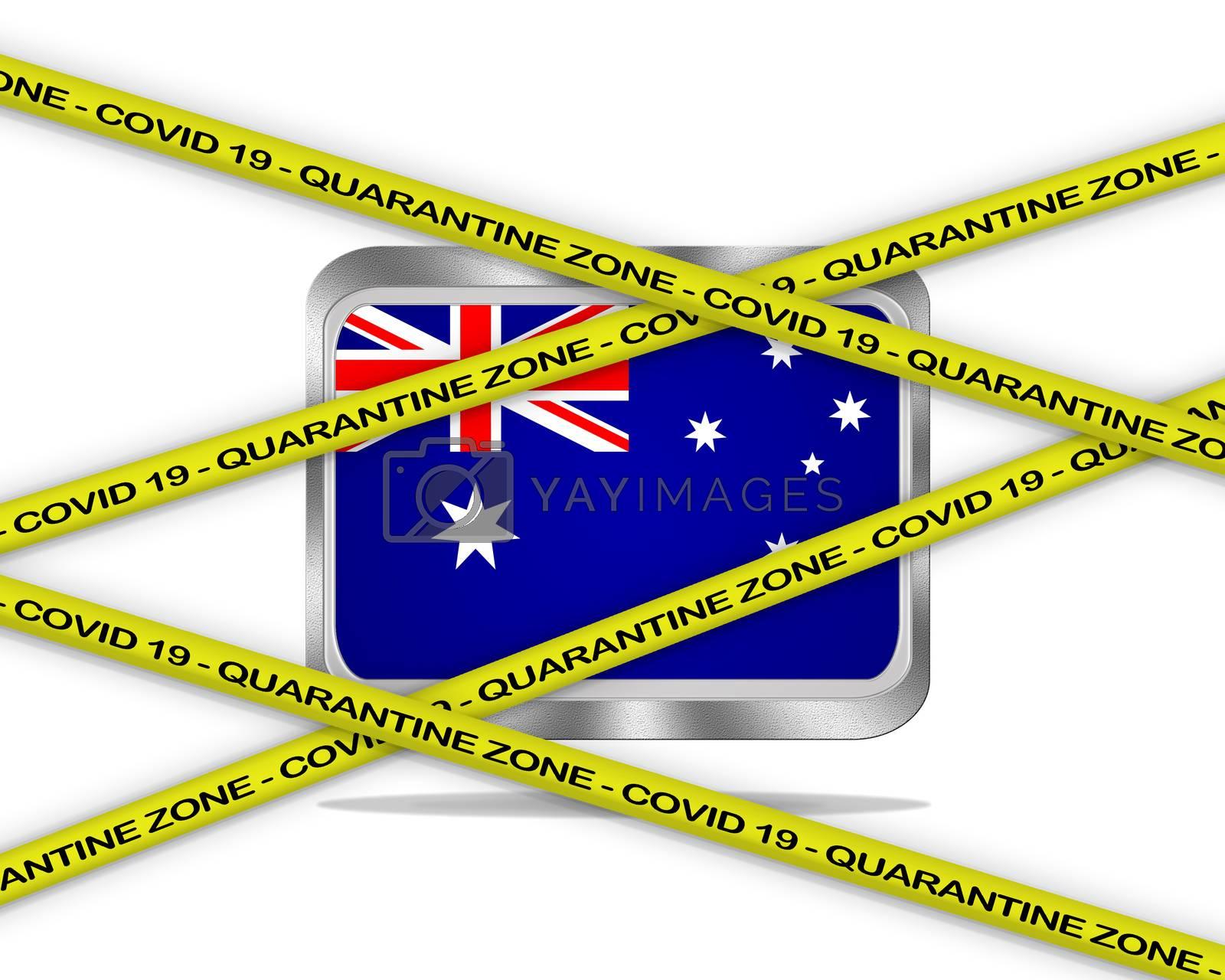 COVID-19 warning yellow ribbon written with: Quarantine zone Cover 19 on Australia flag illustration. Coronavirus danger area, quarantined country.