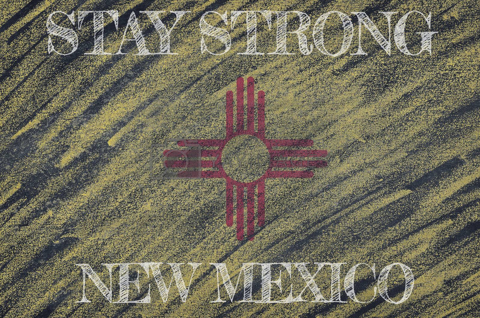 COVID-19 warning. Quarantine zone Covid 19 on New Mexico ,flag illustration. Coronavirus danger area, quarantined country. Stay strong.