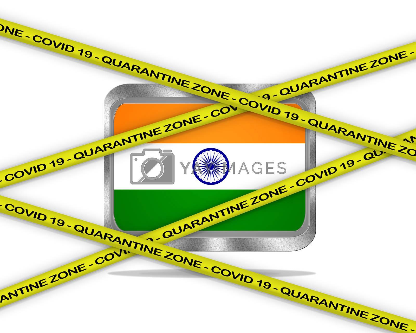 COVID-19 warning yellow ribbon written with: Quarantine zone Cover 19 on India flag illustration. Coronavirus danger area, quarantined country.