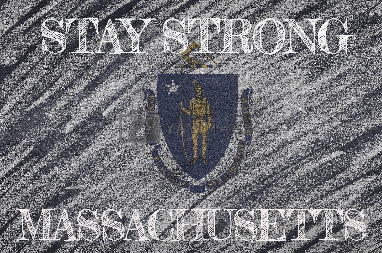 COVID-19 warning. Quarantine zone Covid 19 on Massachusetts ,flag illustration. Coronavirus danger area, quarantined country. Stay strong.