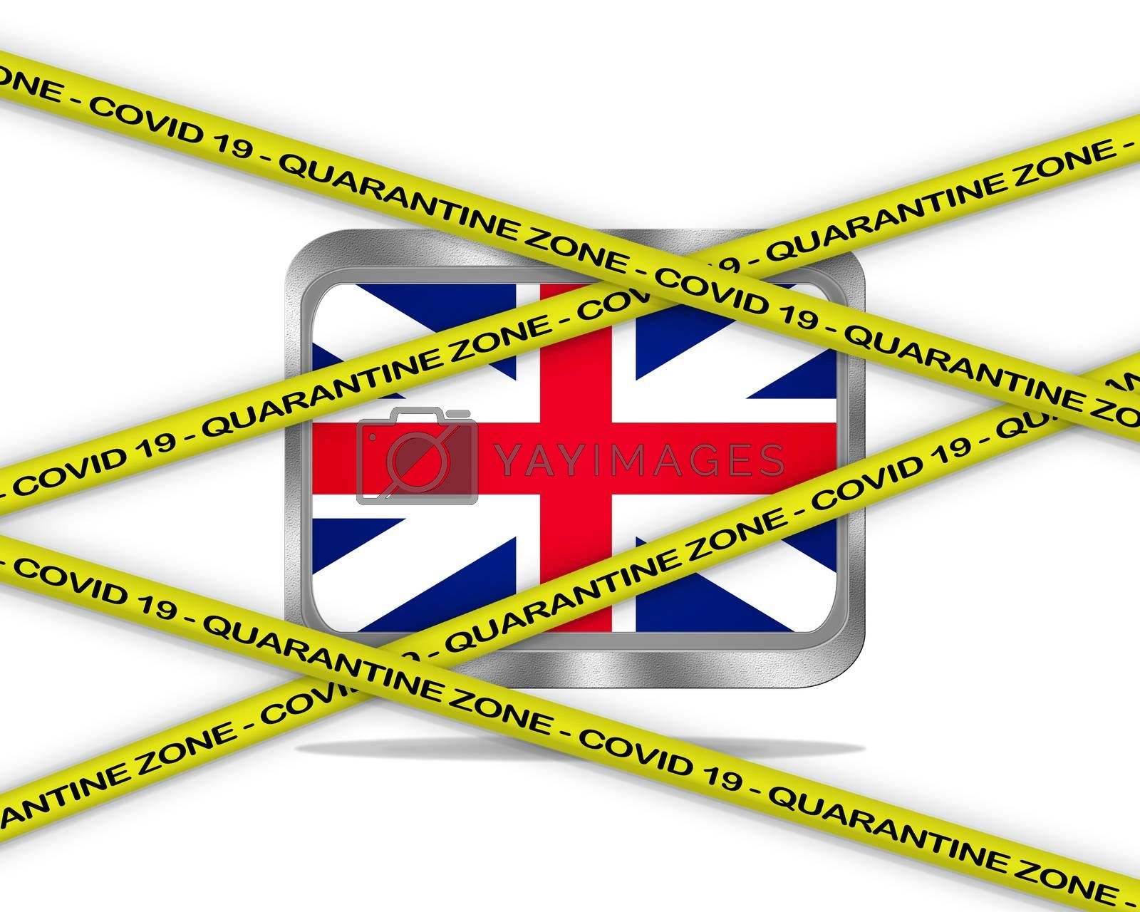 COVID-19 warning yellow ribbon written with: Quarantine zone Cover 19 on United Kingdom flag illustration. Coronavirus danger area, quarantined country.