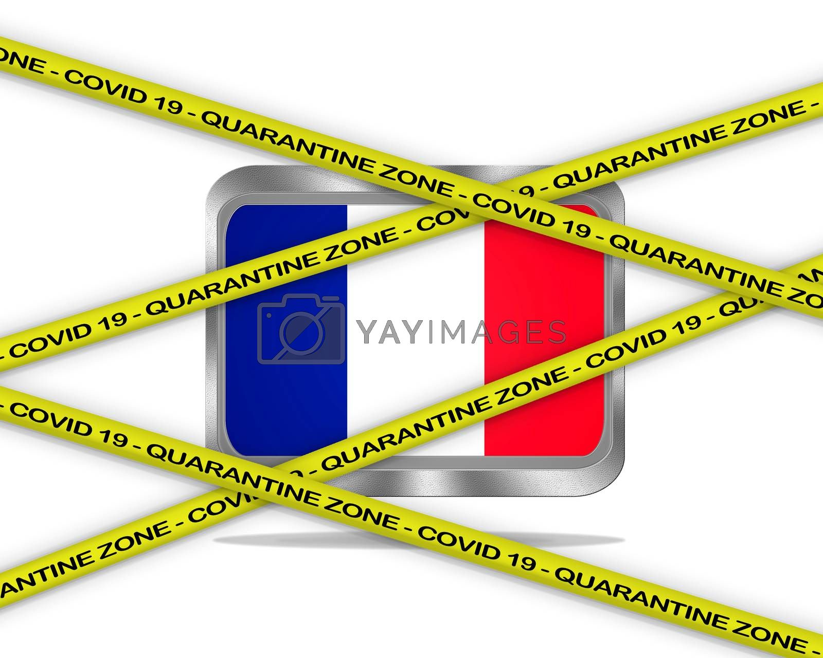COVID-19 warning yellow ribbon written with: Quarantine zone Cover 19 on France flag illustration. Coronavirus danger area, quarantined country.