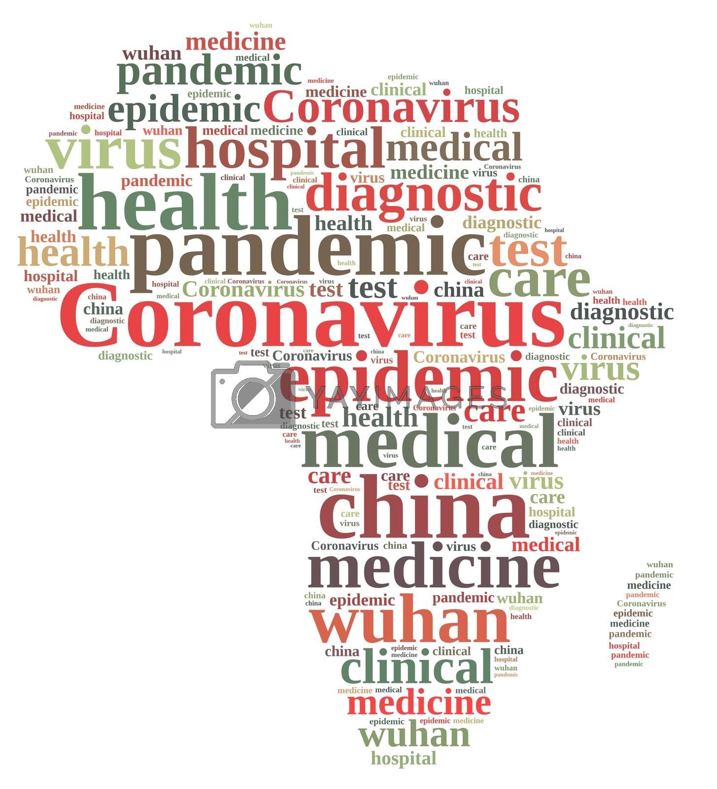 Wuhan coronavirus concept in word tag cloud on Africa.