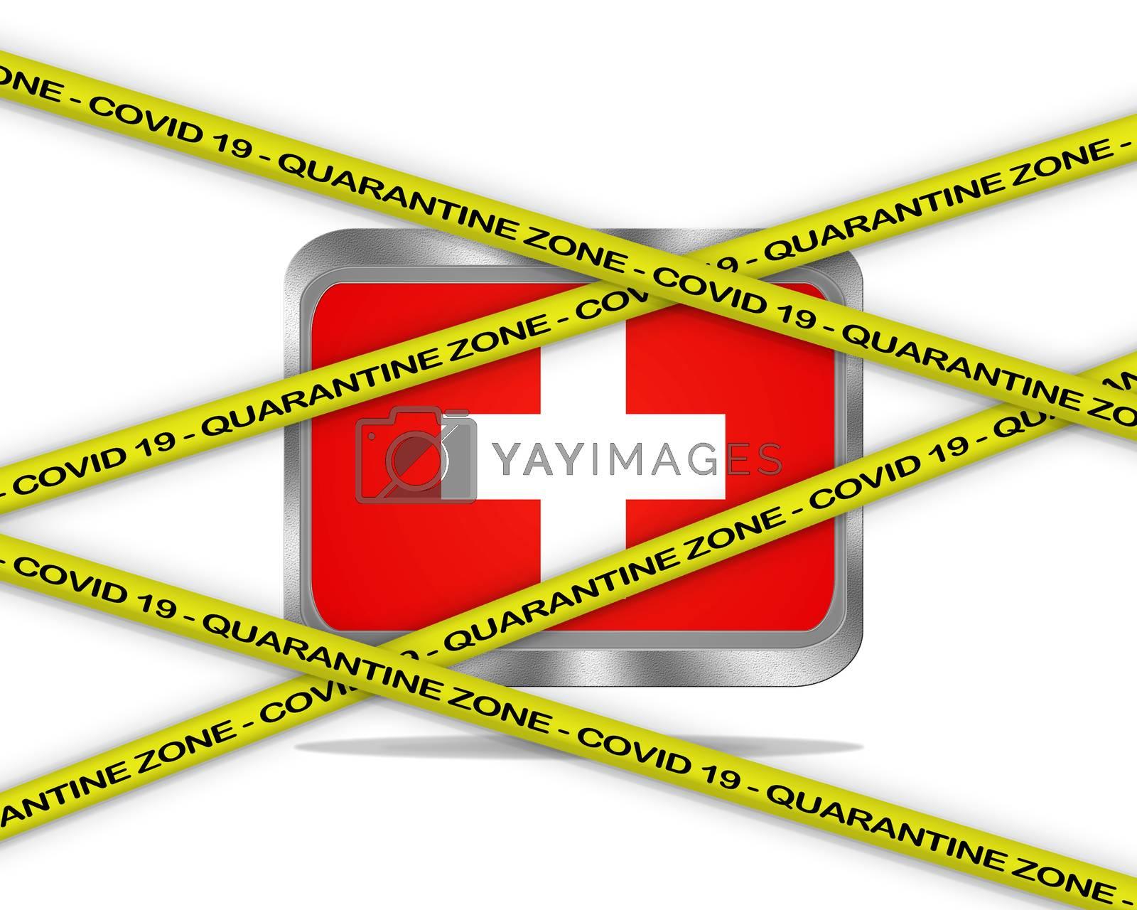COVID-19 warning yellow ribbon written with: Quarantine zone Cover 19 on Switzerland flag illustration. Coronavirus danger area, quarantined country.