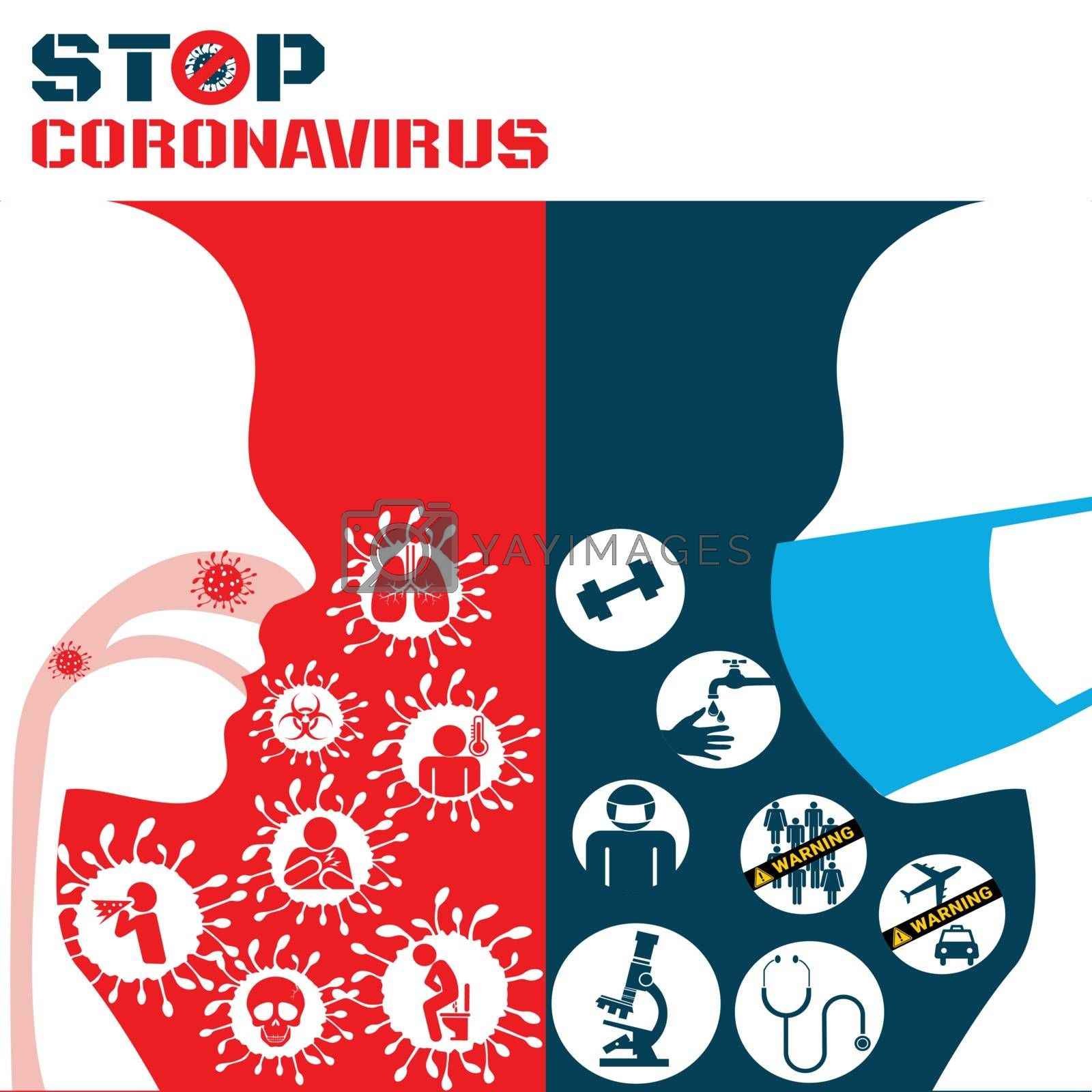Icon of Covid 19 virus Coronavirus and respiratory pathogens of human