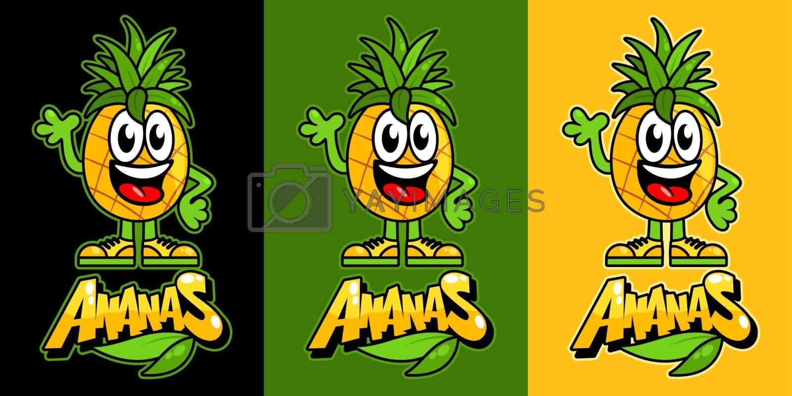 Kawaii Pineapple Fruit. Funny Vector Illustration Of Cartoon Ananas. Friendly Ananas