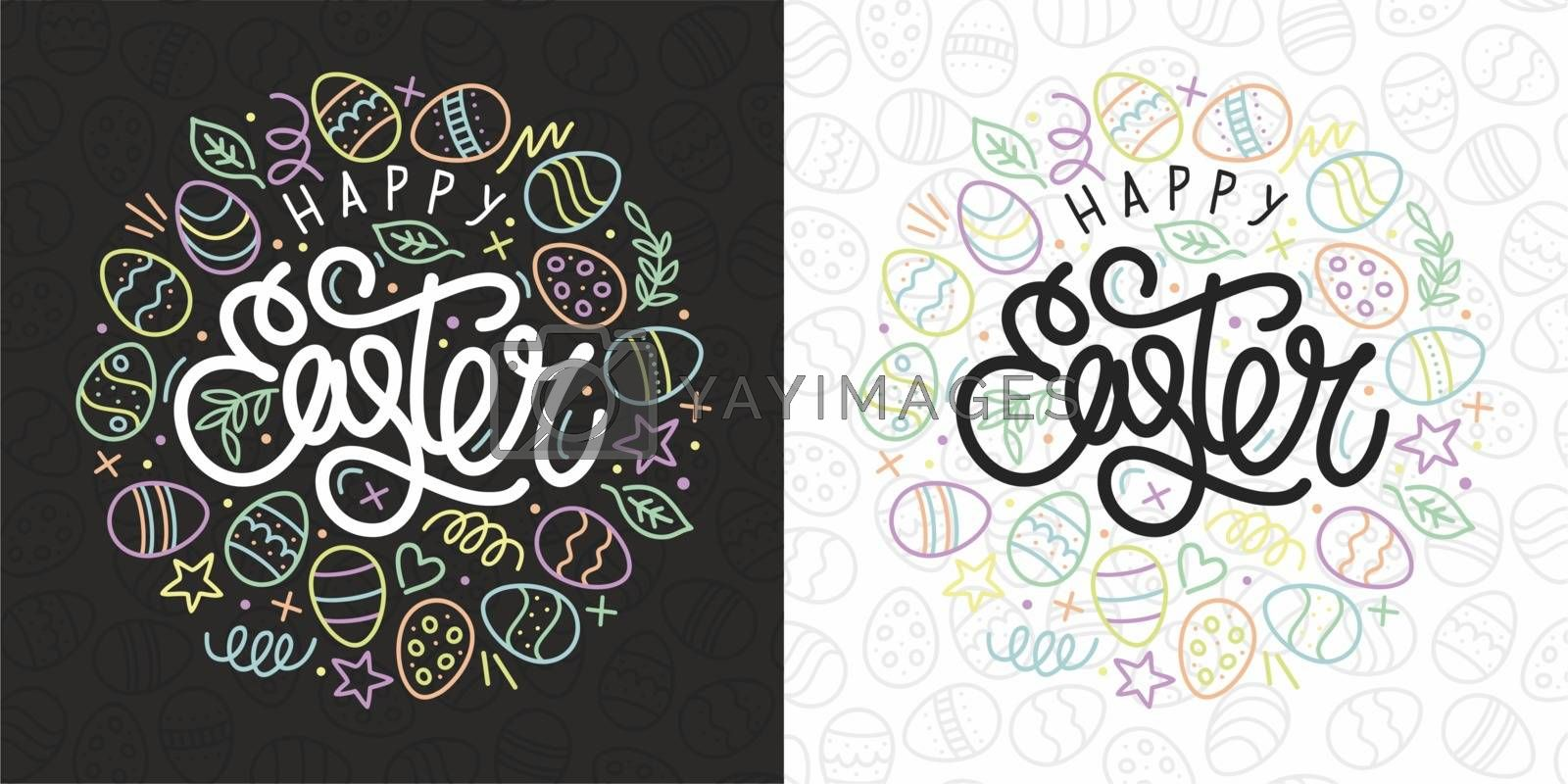 Happy Easter Vector Typograpy As Logotype, Badge and Icon, Easter Postcard, Card, Invitation, Flyer, Banner Template.