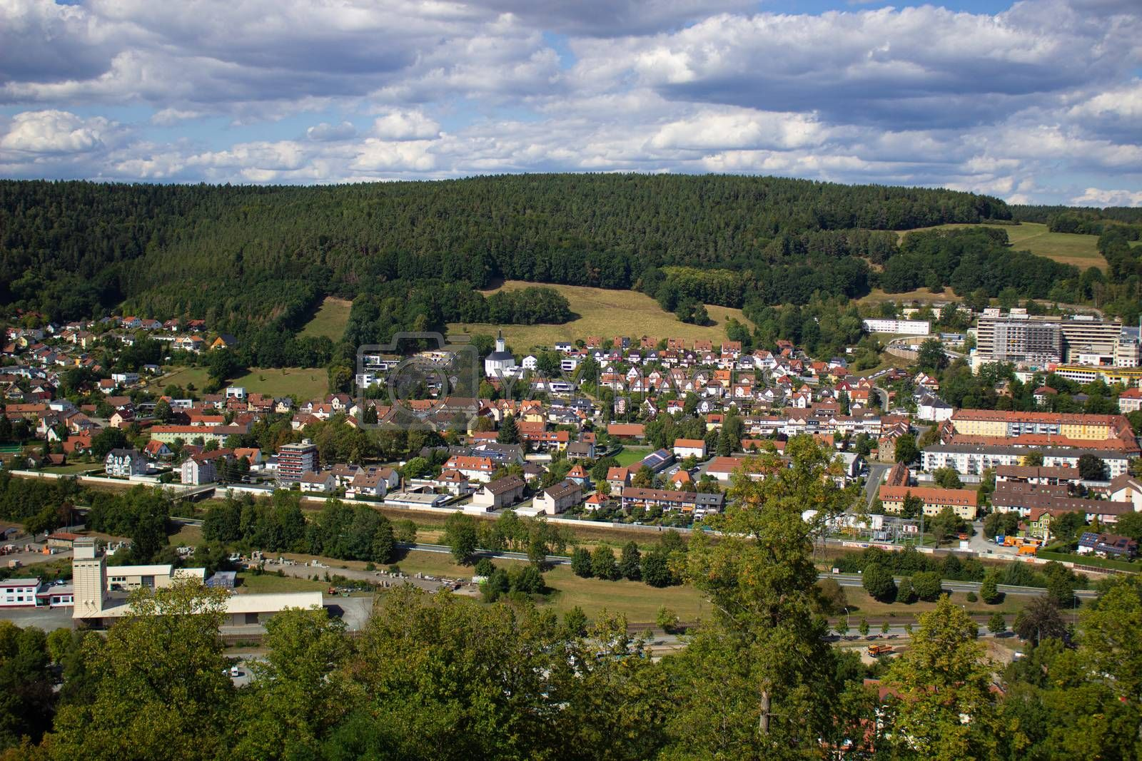 Mountain view of the city, in Germany. Walk through the Castle grounds.