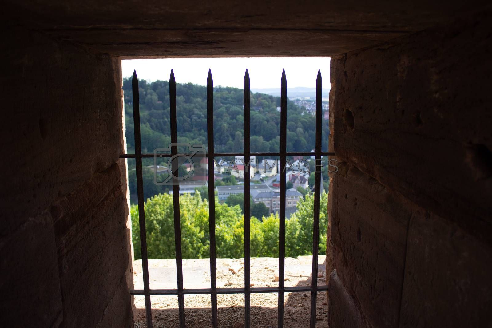 Observation deck of an old castle in Germany. Beautiful views of the surroundings and blue sky with clouds.