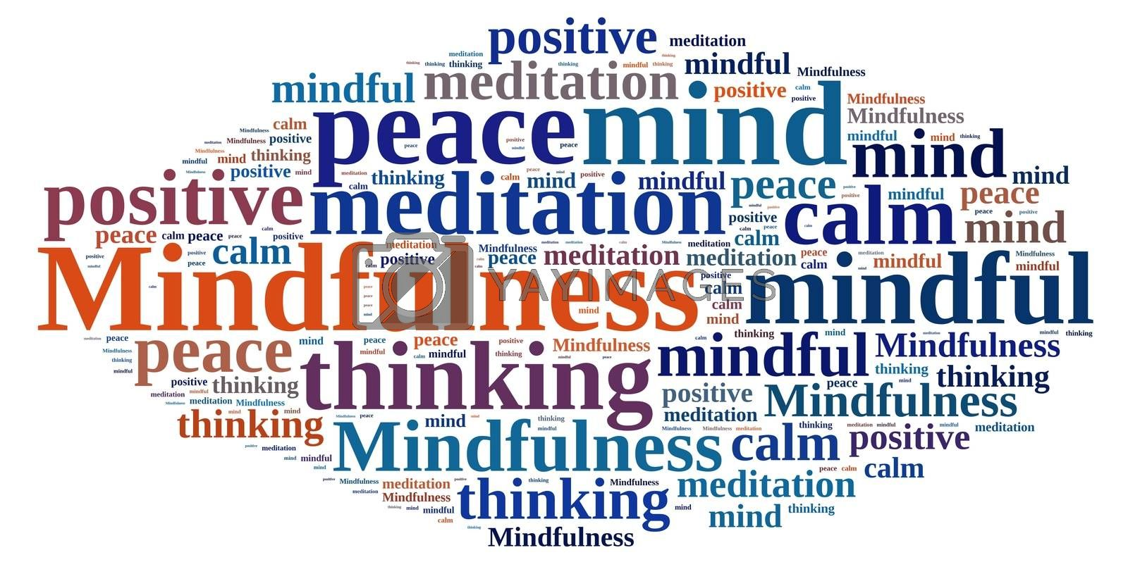 Mindfulness concept illustration with word cloud.