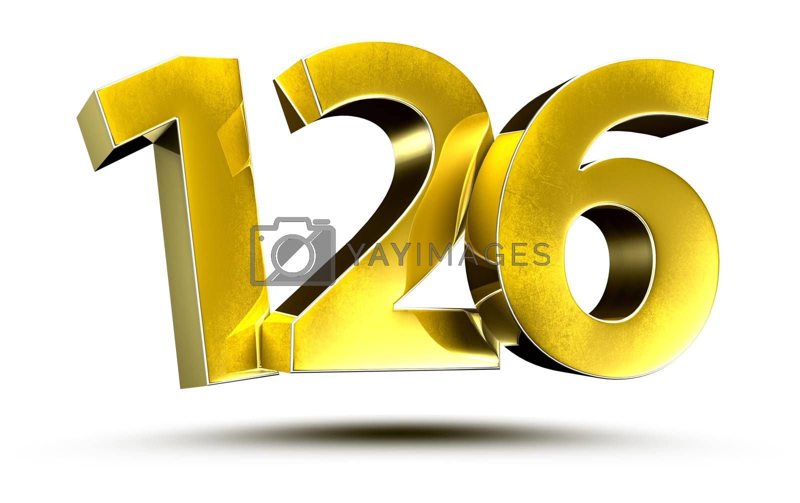 3D illustration Numbers 126 Gold isolated on a white background.(with Clipping Path)