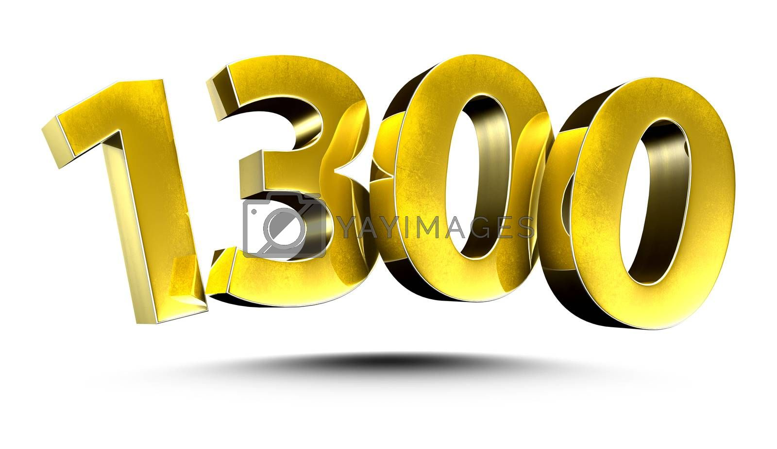 3D illustration Numbers 1300 Gold isolated on a white background.(with Clipping Path)