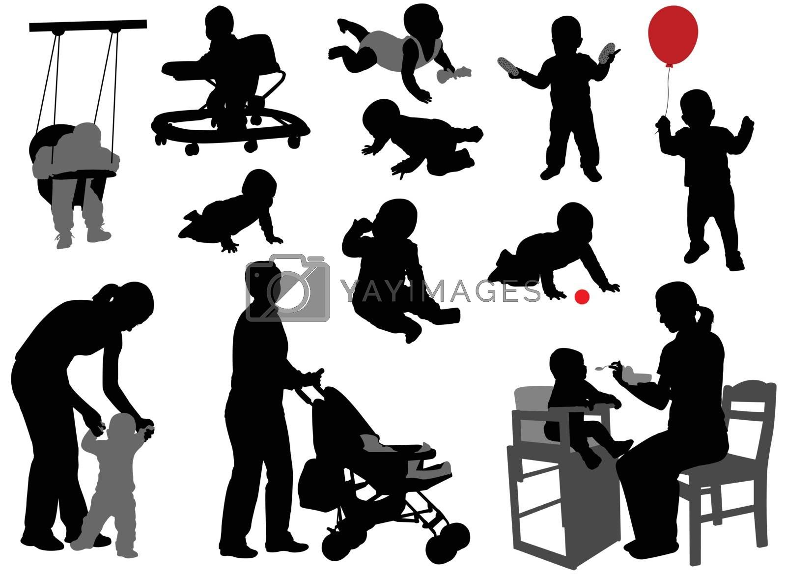 babies and toddlers silhouettes - vector