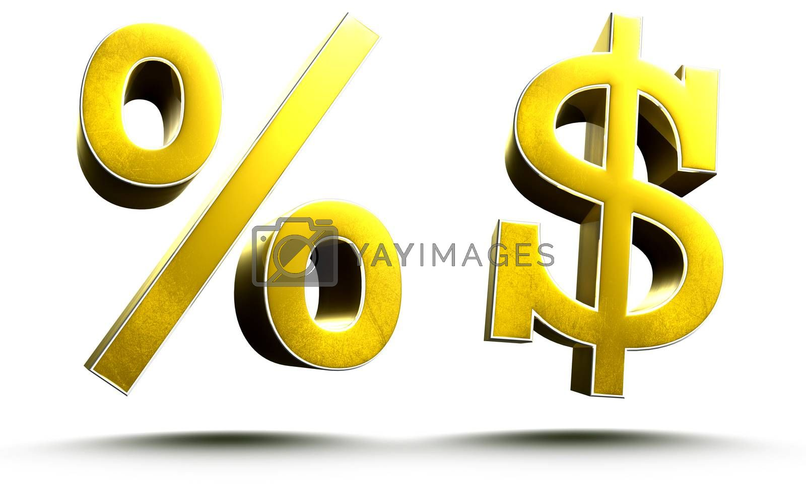 3D illustration symbol percent and dollar sign Gold isolated on a white background.(with Clipping Path)