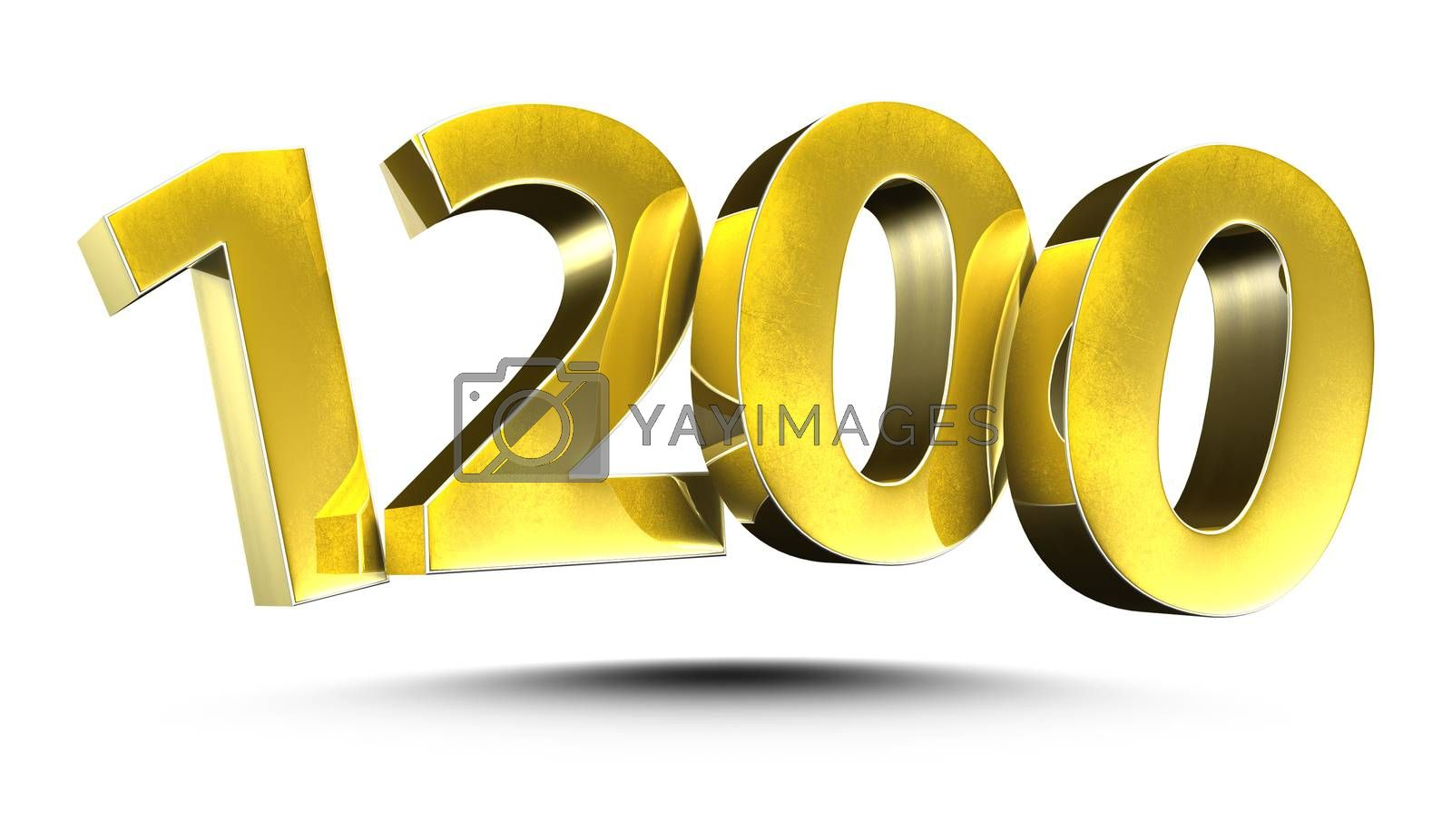 3D illustration Numbers 1200 Gold isolated on a white background.(with Clipping Path)