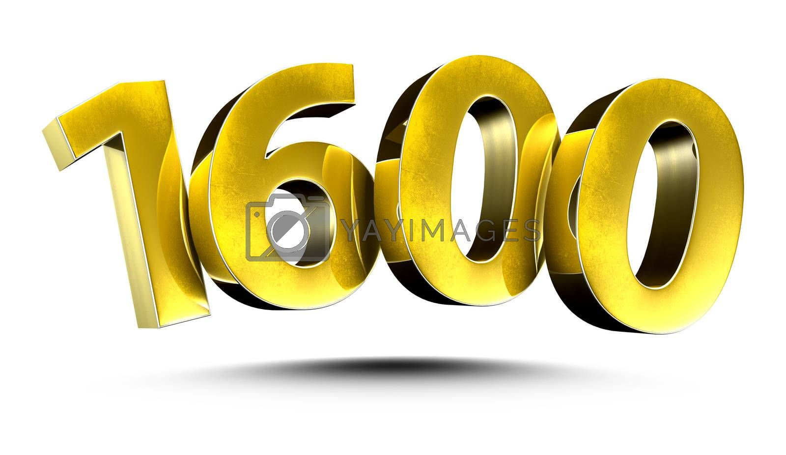 3D illustration Numbers 1600 Gold isolated on a white background.(with Clipping Path)