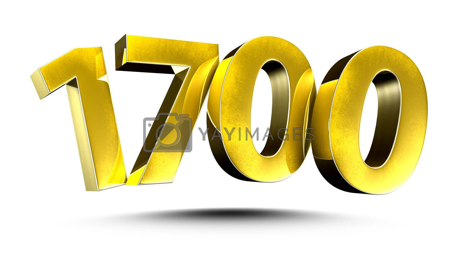 3D illustration Numbers 1700 Gold isolated on a white background.(with Clipping Path)