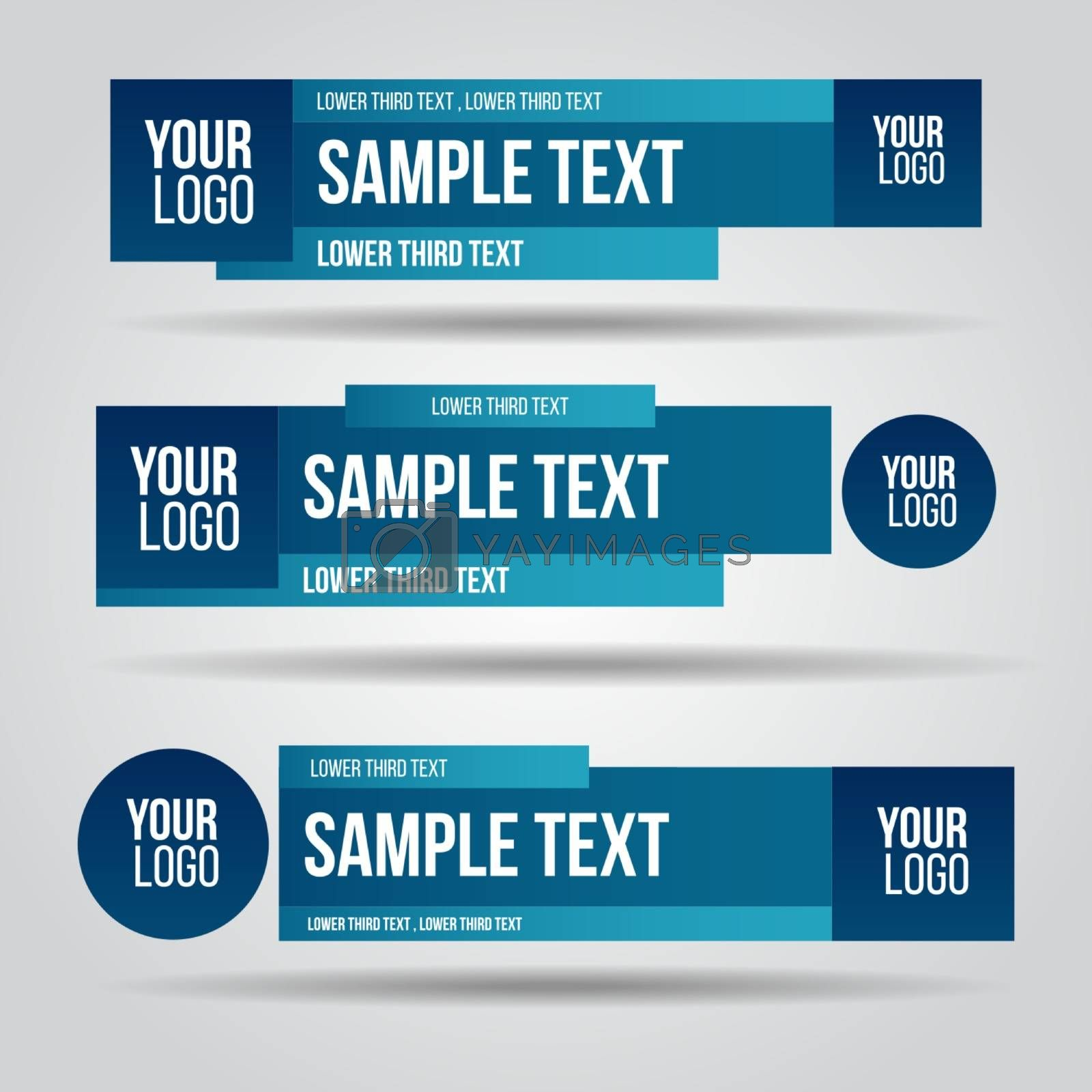 Lower third tv blue design template modern contemporary. Set of banners bar screen broadcast bar name. Collection of lower third for video editing on transparent background.