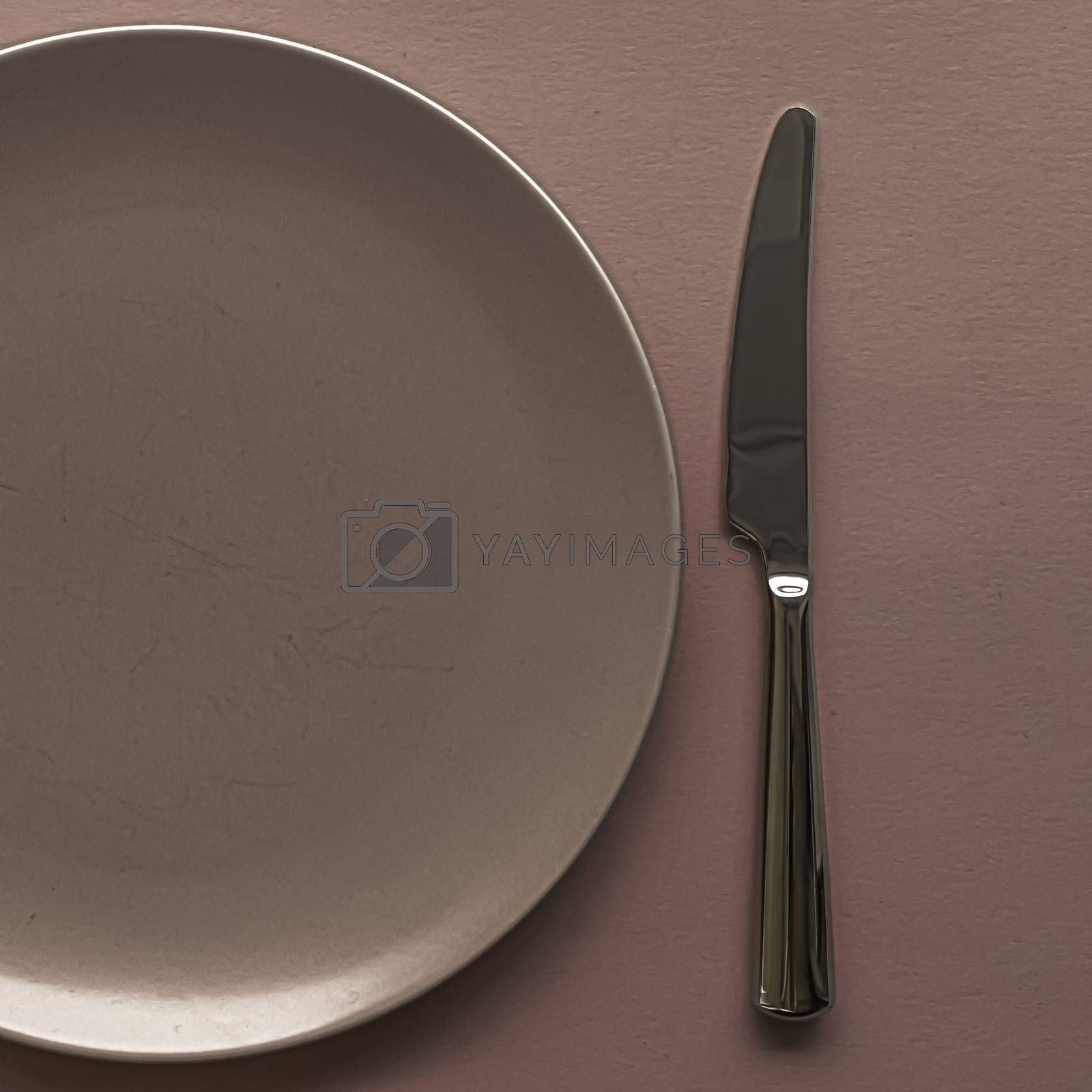 Empty plate and cutlery as mockup set on brown background, top tableware for chef table decor and menu branding design
