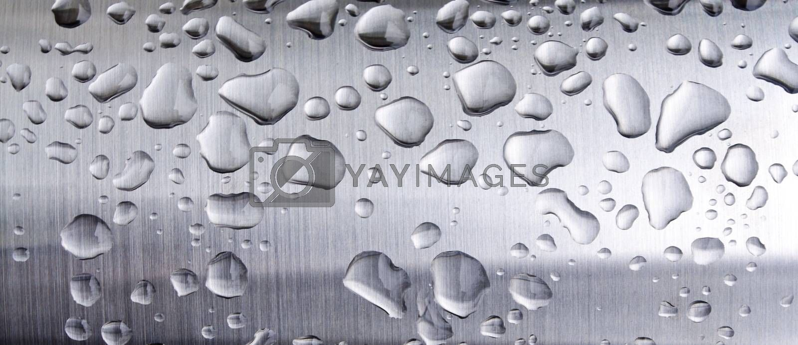 closeup of metalic texture with water drops