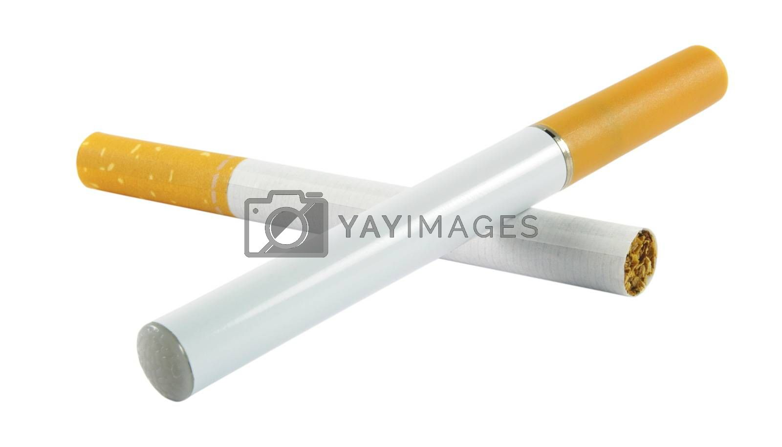 Electronic cigarette with the regular one isolated