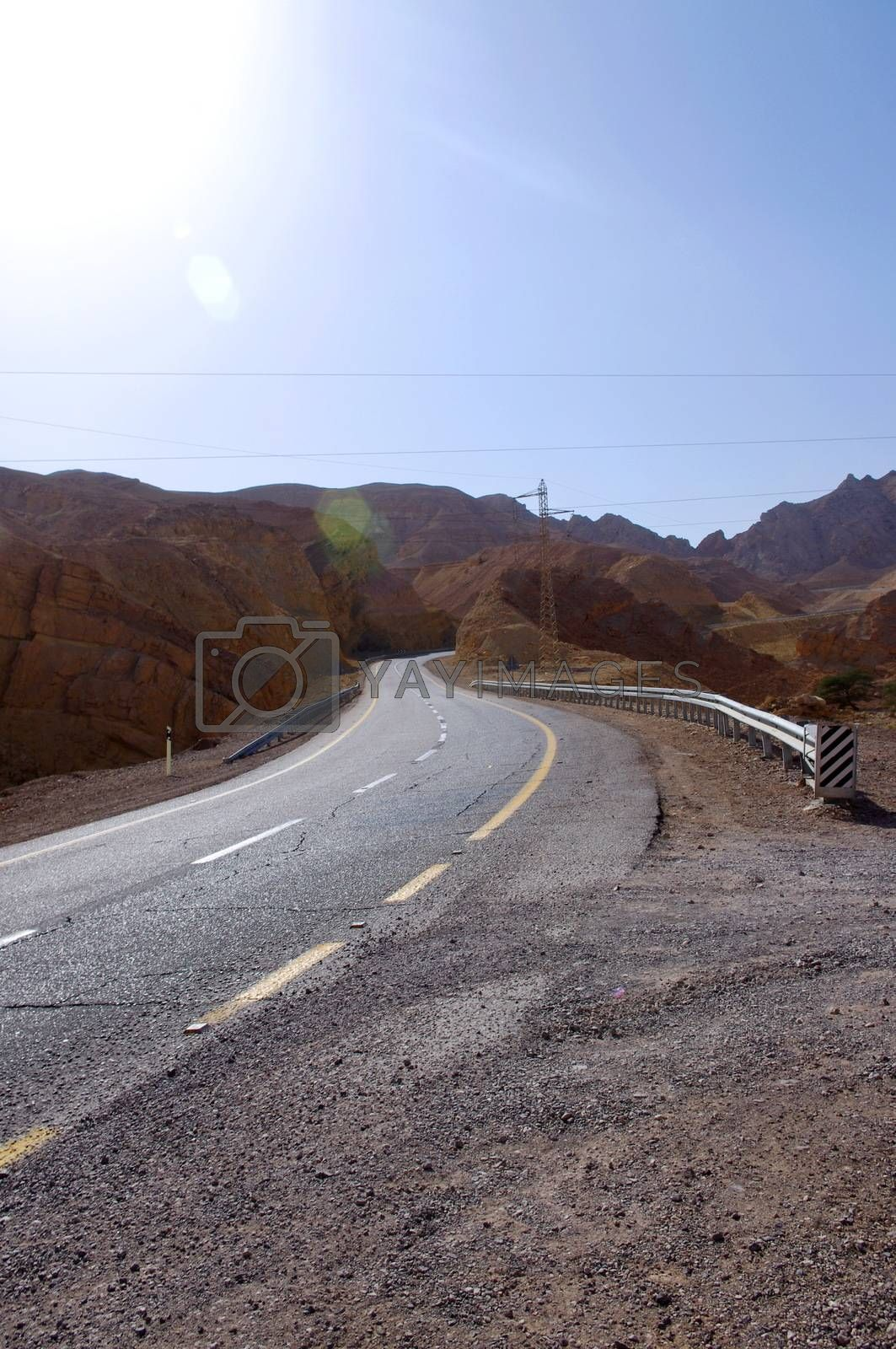 mountain road in Israel in summer