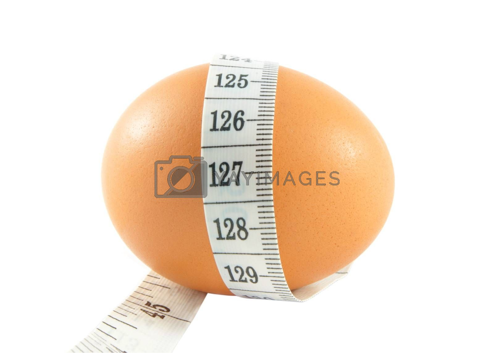 egg with meter isolated on white