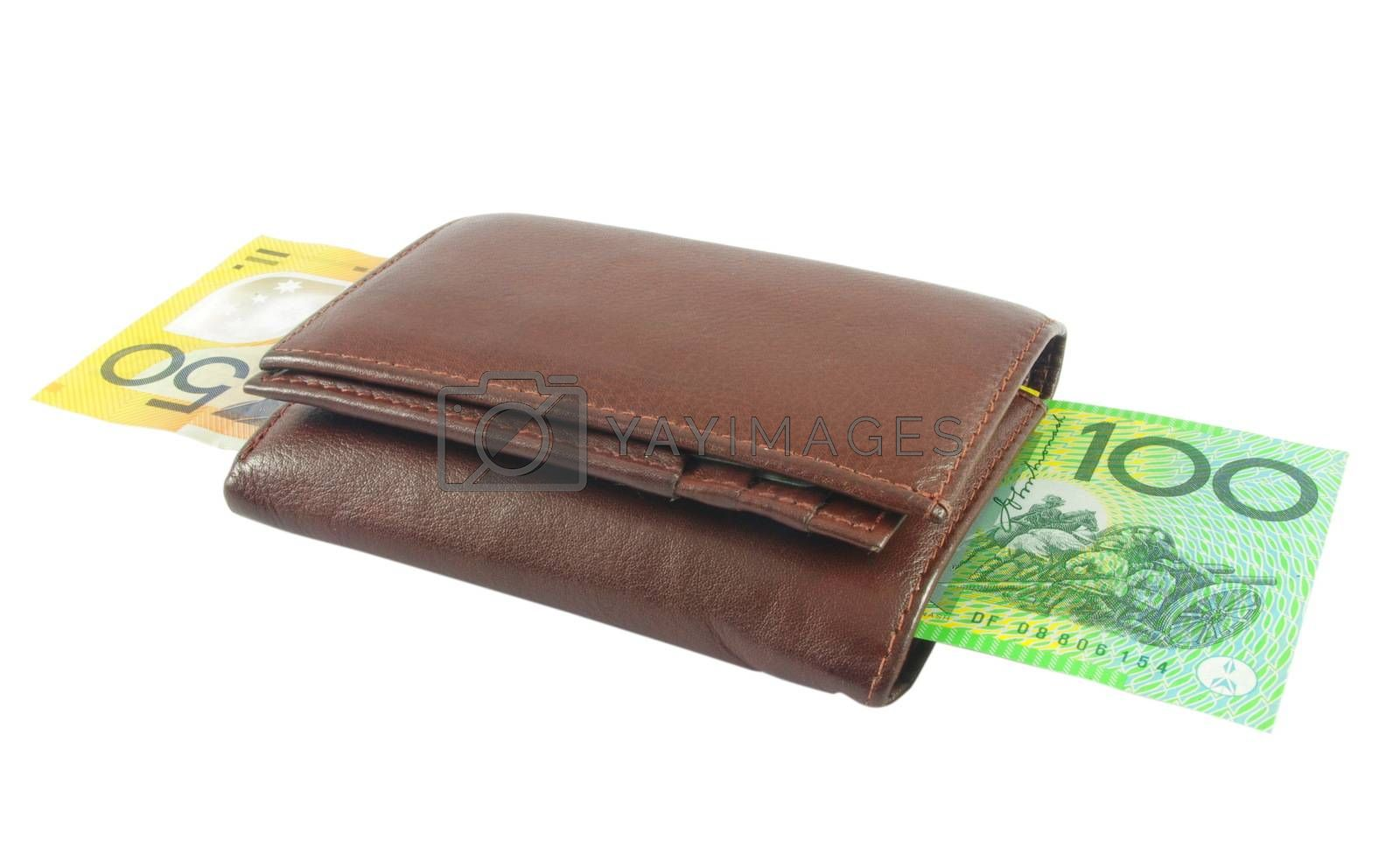 Brown wallet with Australian money over white