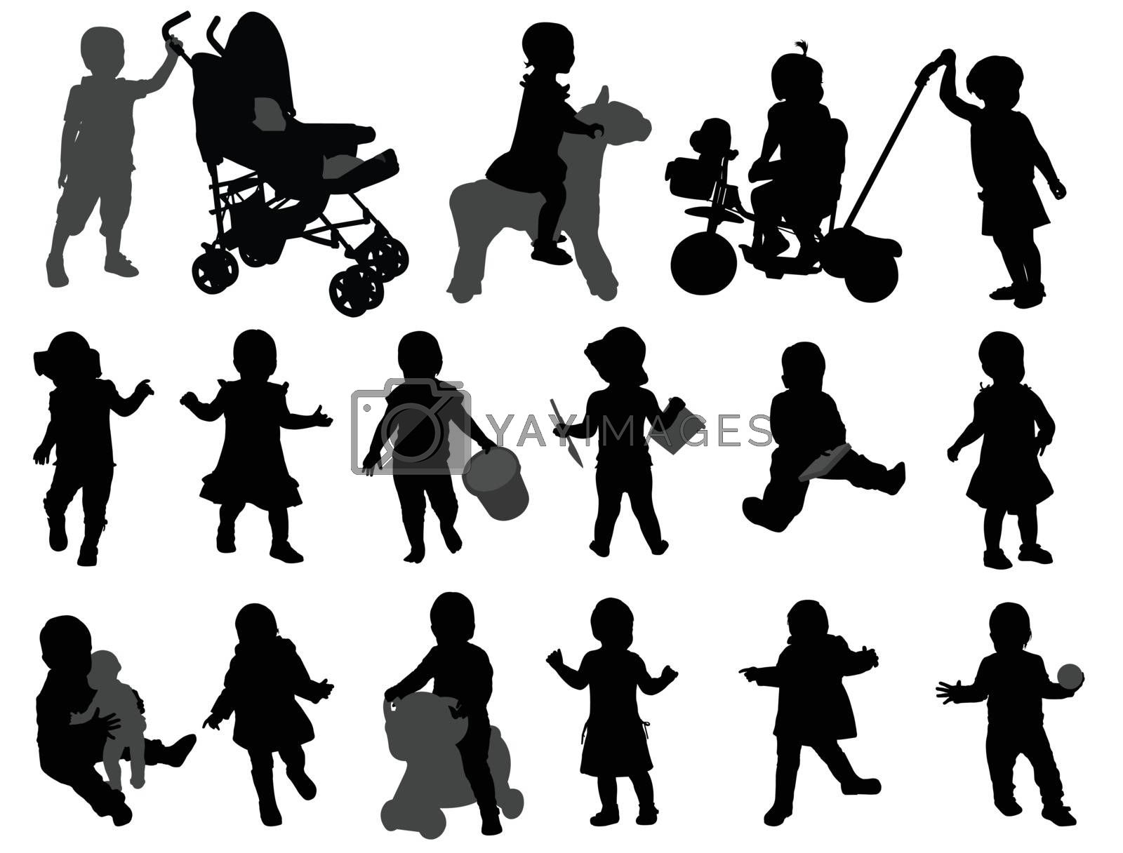 toddlers silhouettes collection - vector